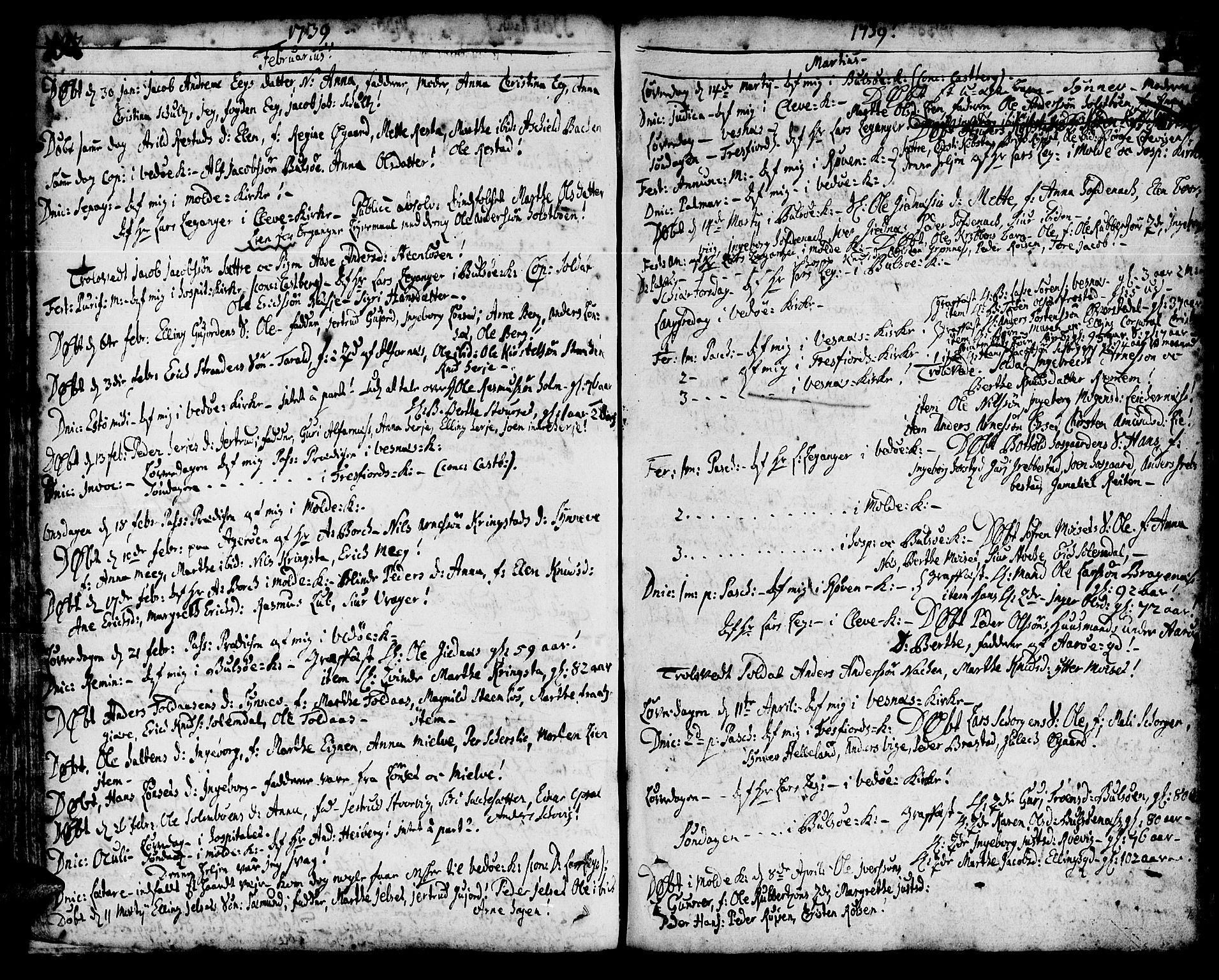 SAT, Ministerialprotokoller, klokkerbøker og fødselsregistre - Møre og Romsdal, 547/L0599: Ministerialbok nr. 547A01, 1721-1764, s. 194-195