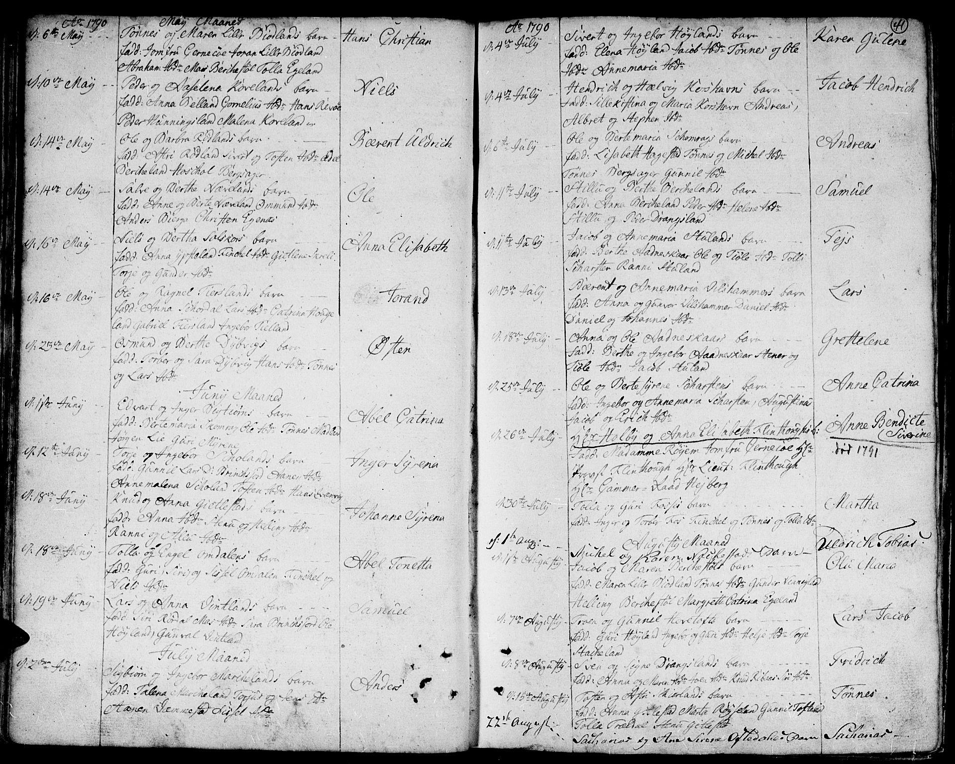 SAK, Lyngdal sokneprestkontor, F/Fa/Fac/L0004: Ministerialbok nr. A 4, 1780-1815, s. 41