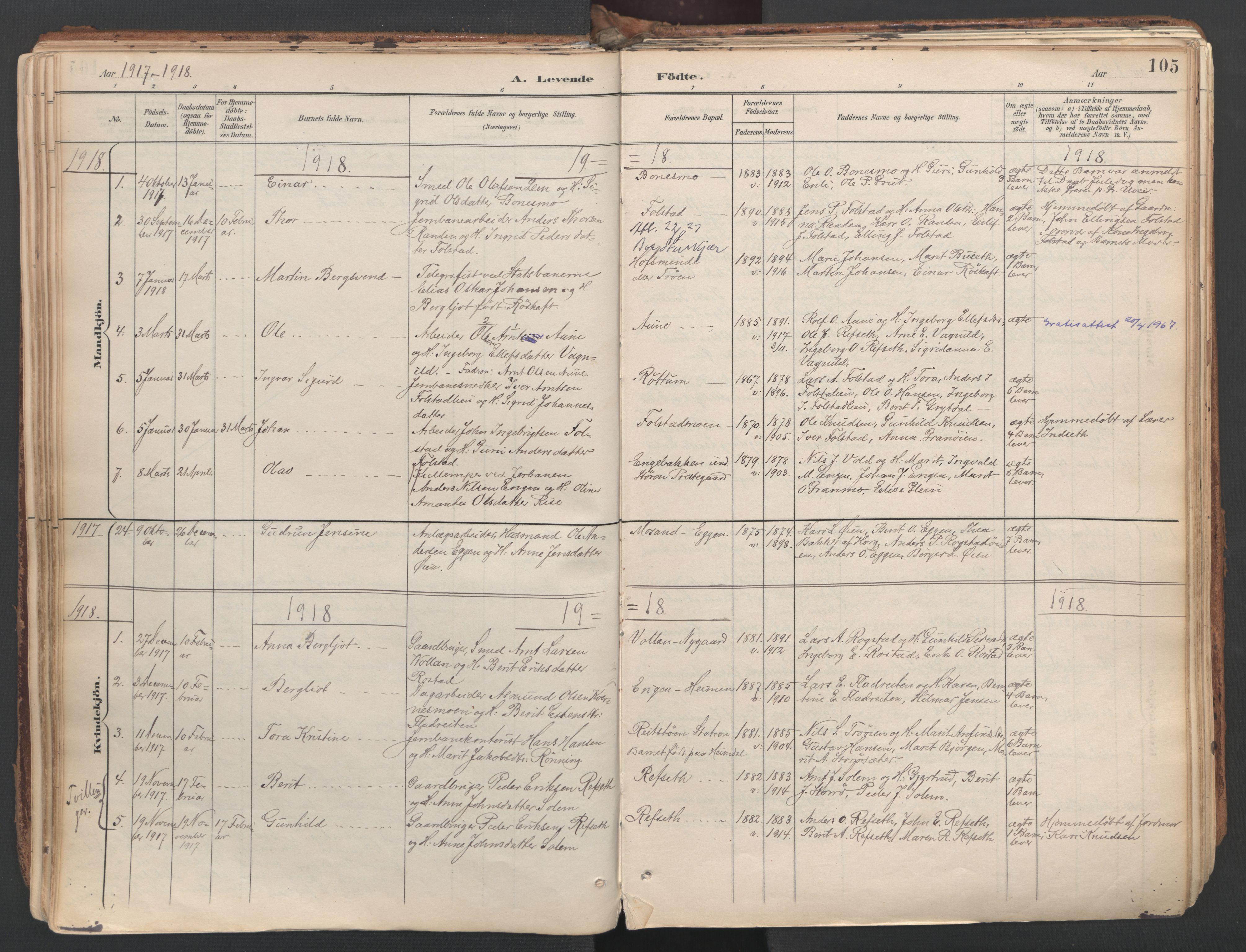SAT, Ministerialprotokoller, klokkerbøker og fødselsregistre - Sør-Trøndelag, 687/L1004: Ministerialbok nr. 687A10, 1891-1923, s. 105