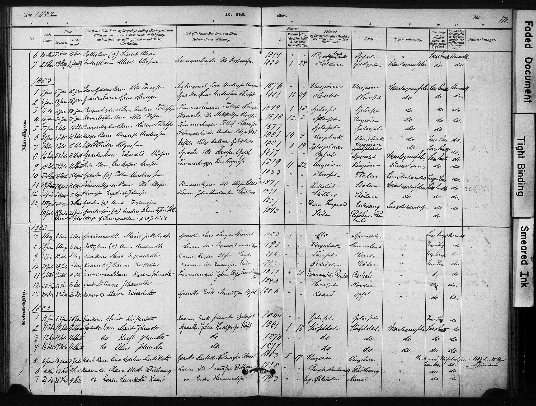 SAT, Ministerialprotokoller, klokkerbøker og fødselsregistre - Sør-Trøndelag, 631/L0512: Ministerialbok nr. 631A01, 1879-1912, s. 178