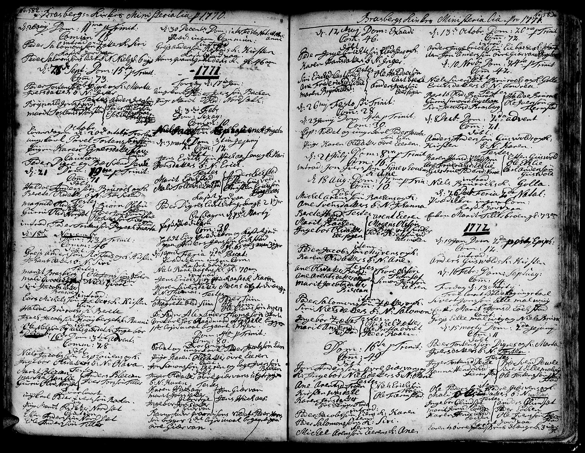 SAT, Ministerialprotokoller, klokkerbøker og fødselsregistre - Sør-Trøndelag, 606/L0278: Ministerialbok nr. 606A01 /4, 1727-1780, s. 582-583