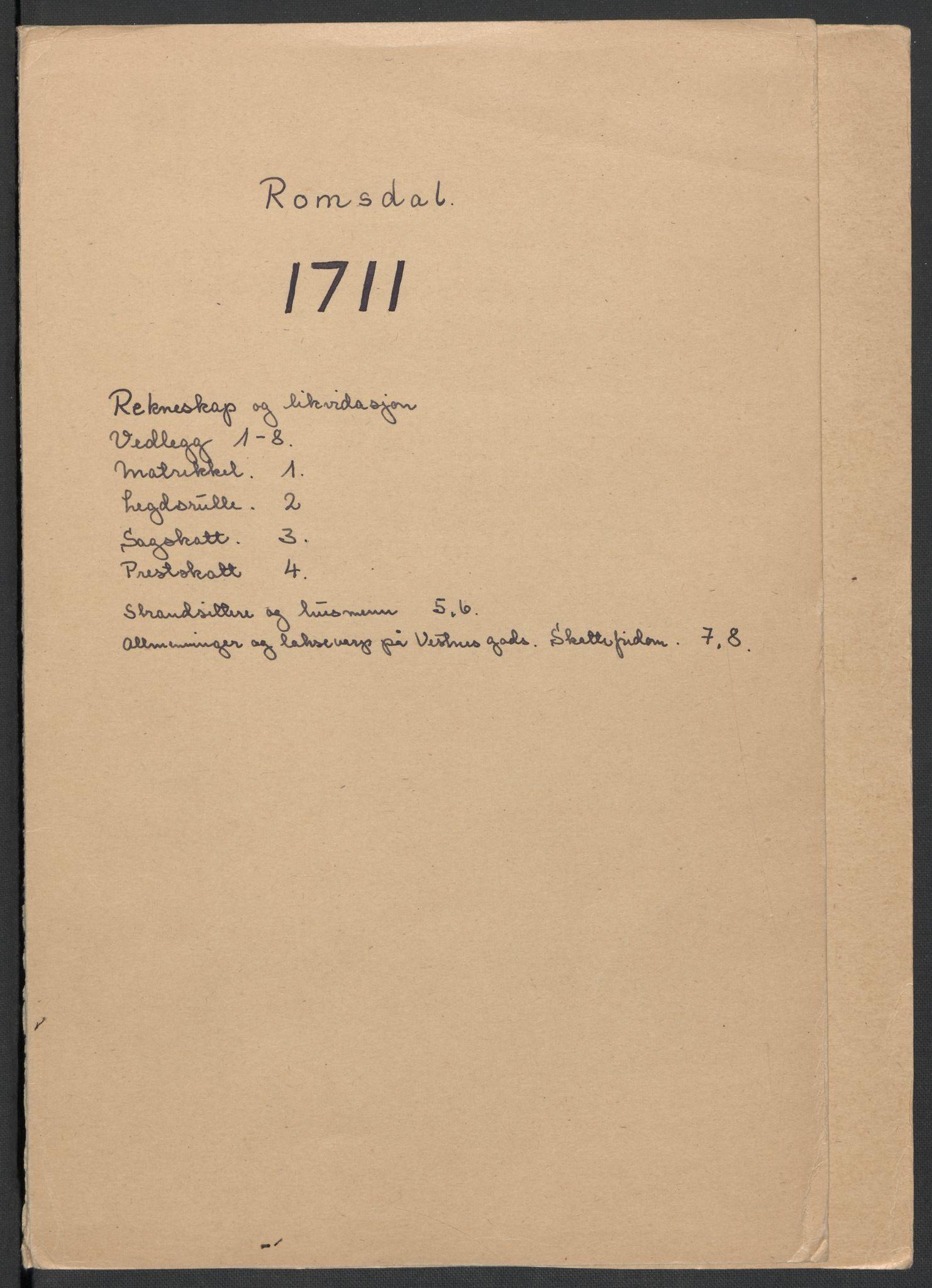 RA, Rentekammeret inntil 1814, Reviderte regnskaper, Fogderegnskap, R55/L3660: Fogderegnskap Romsdal, 1711, s. 2