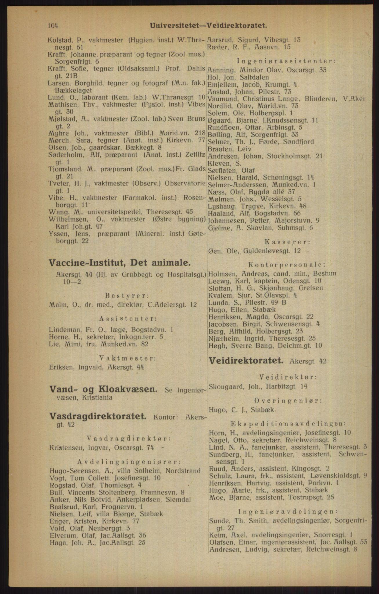 RA, Kristiania adressebok (publikasjon)*, 1915, s. 104