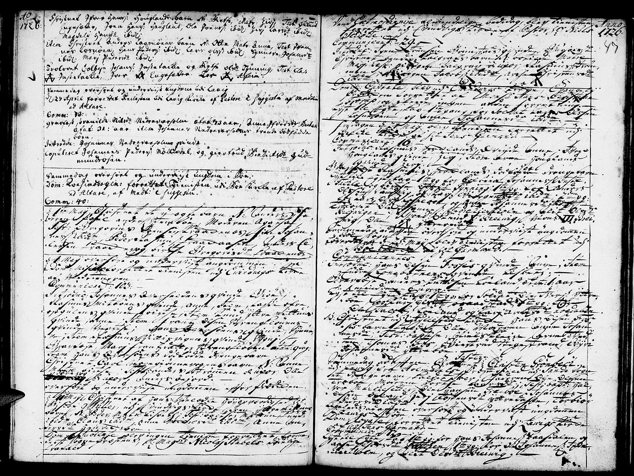 SAB, Gulen Sokneprestembete, Ministerialbok nr. A 8, 1723-1728, s. 47