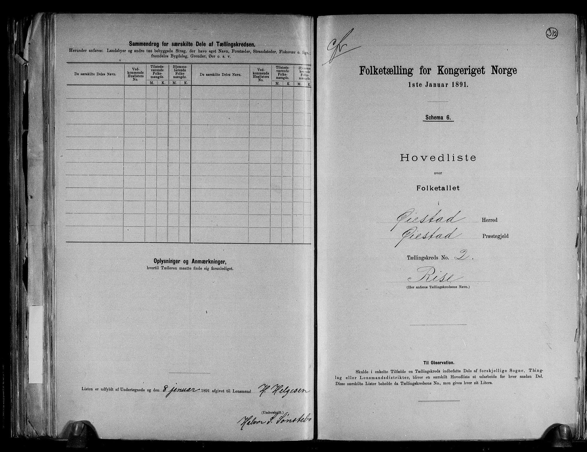 RA, Folketelling 1891 for 0920 Øyestad herred, 1891, s. 6