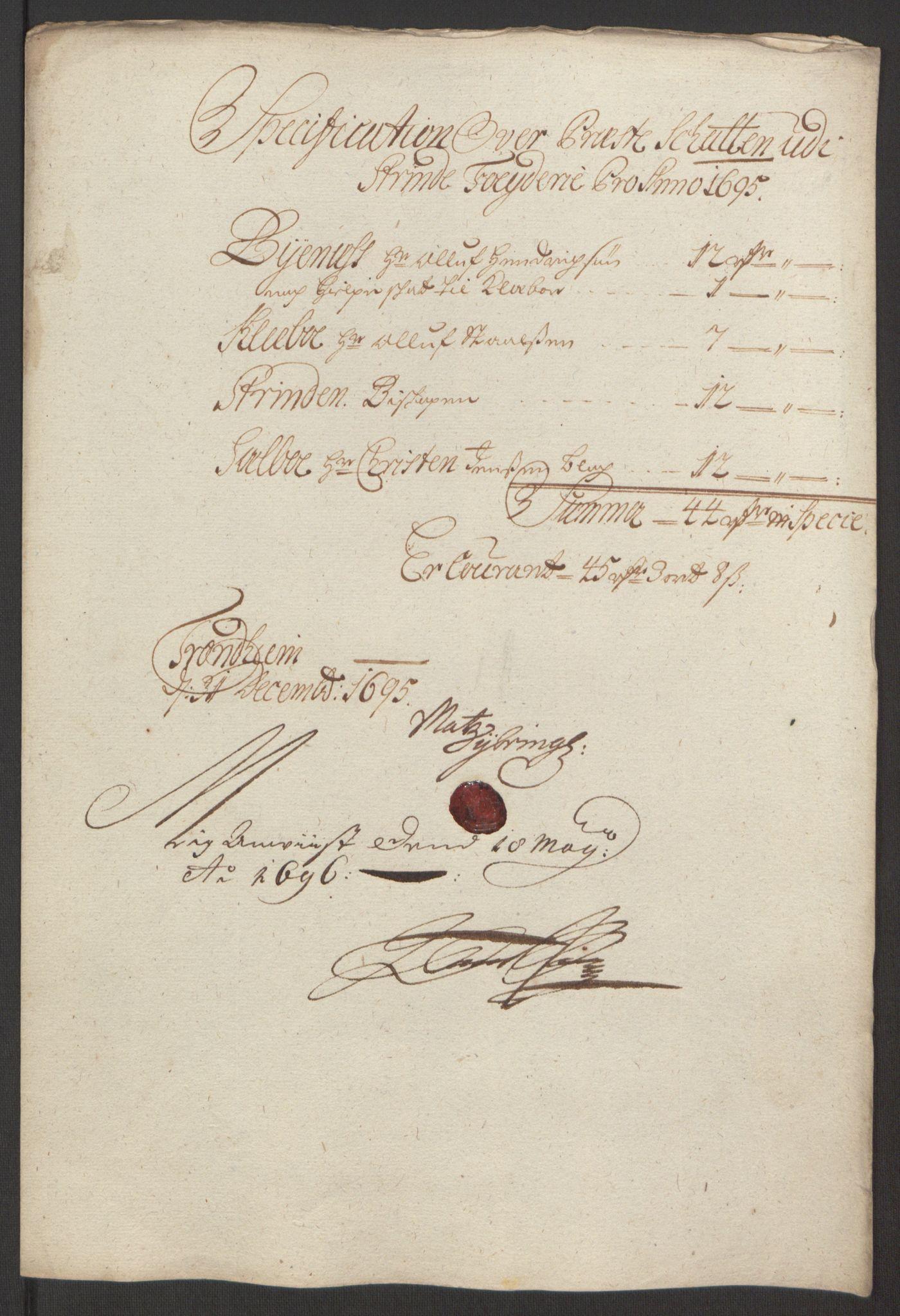 RA, Rentekammeret inntil 1814, Reviderte regnskaper, Fogderegnskap, R61/L4105: Fogderegnskap Strinda og Selbu, 1695, s. 69