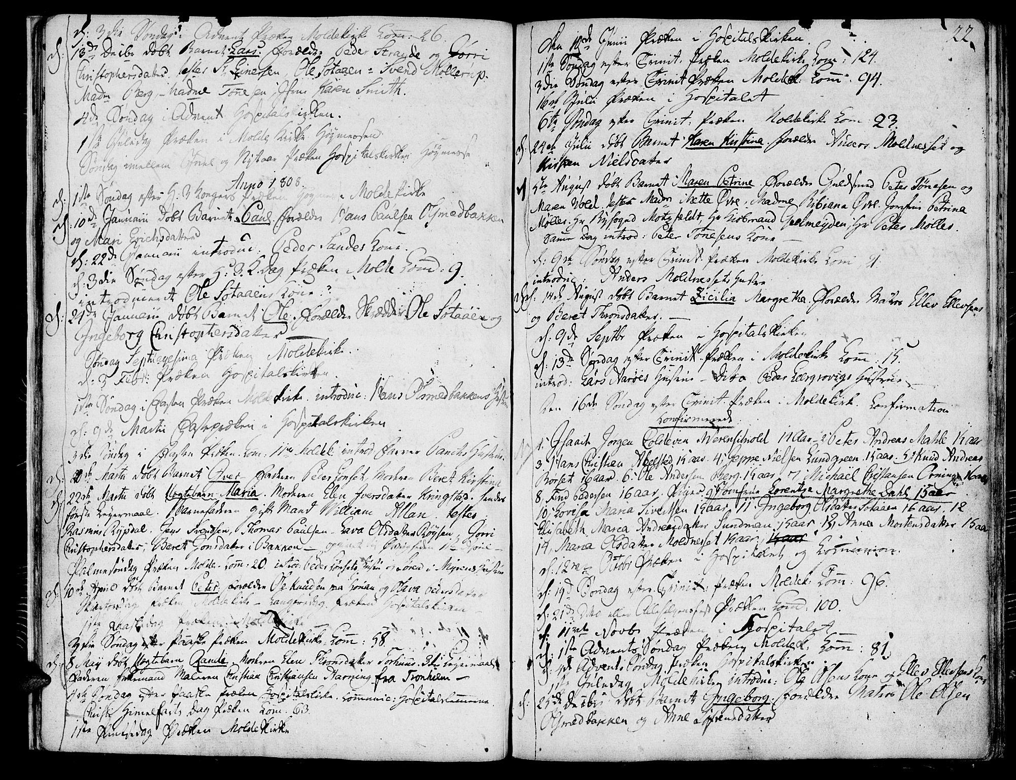 SAT, Ministerialprotokoller, klokkerbøker og fødselsregistre - Møre og Romsdal, 558/L0687: Ministerialbok nr. 558A01, 1798-1818, s. 22