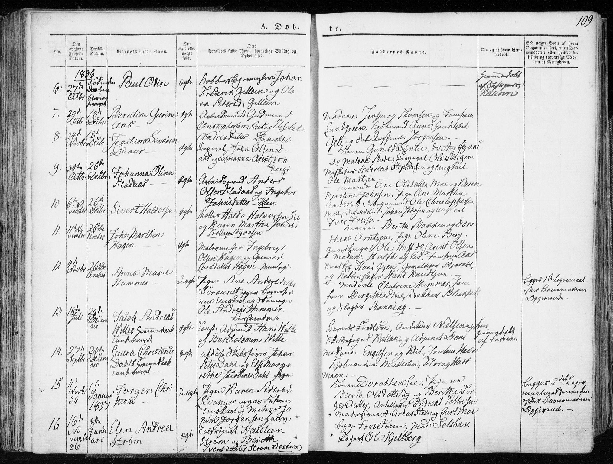 SAT, Ministerialprotokoller, klokkerbøker og fødselsregistre - Sør-Trøndelag, 601/L0047: Ministerialbok nr. 601A15, 1831-1839, s. 109