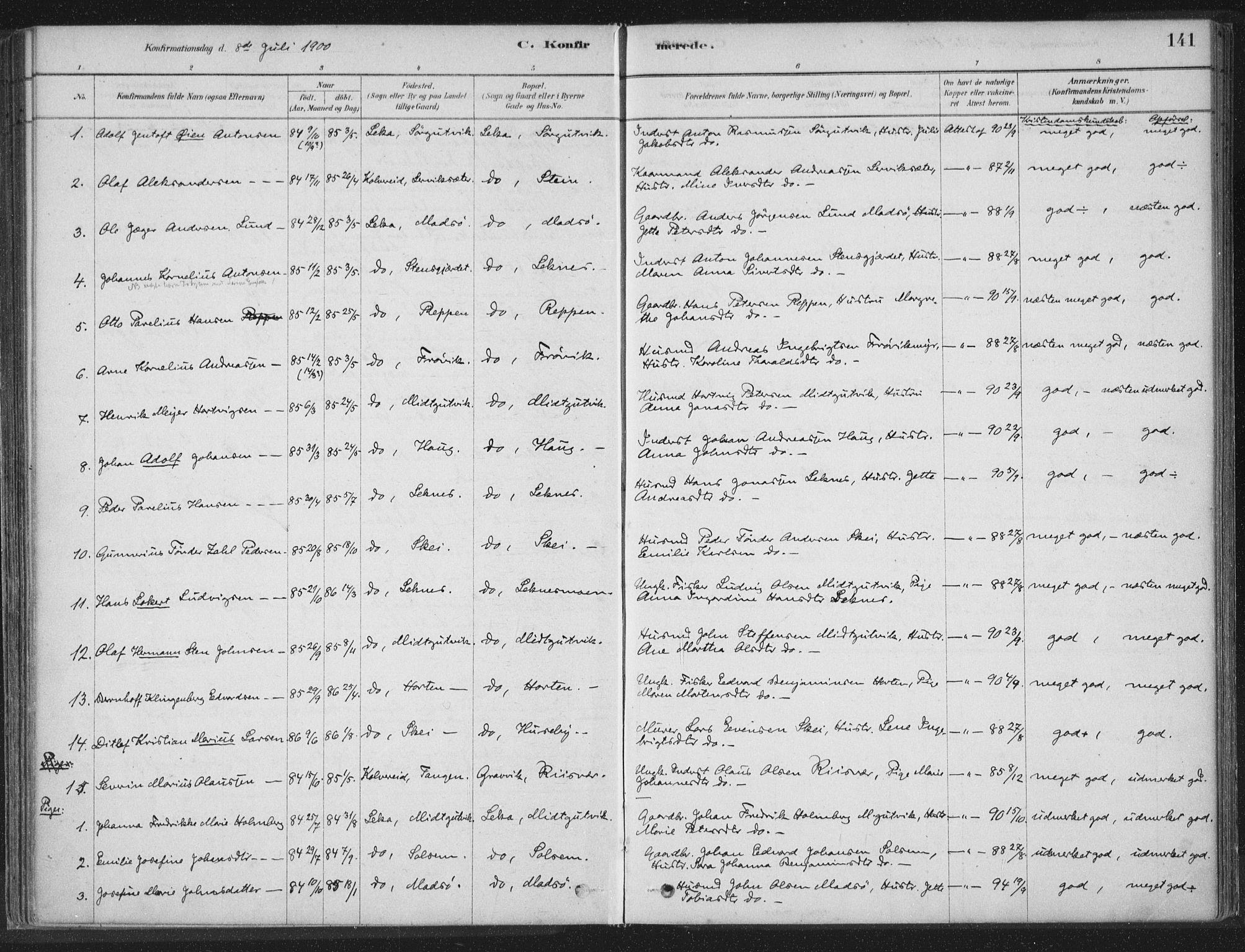 SAT, Ministerialprotokoller, klokkerbøker og fødselsregistre - Nord-Trøndelag, 788/L0697: Ministerialbok nr. 788A04, 1878-1902, s. 141