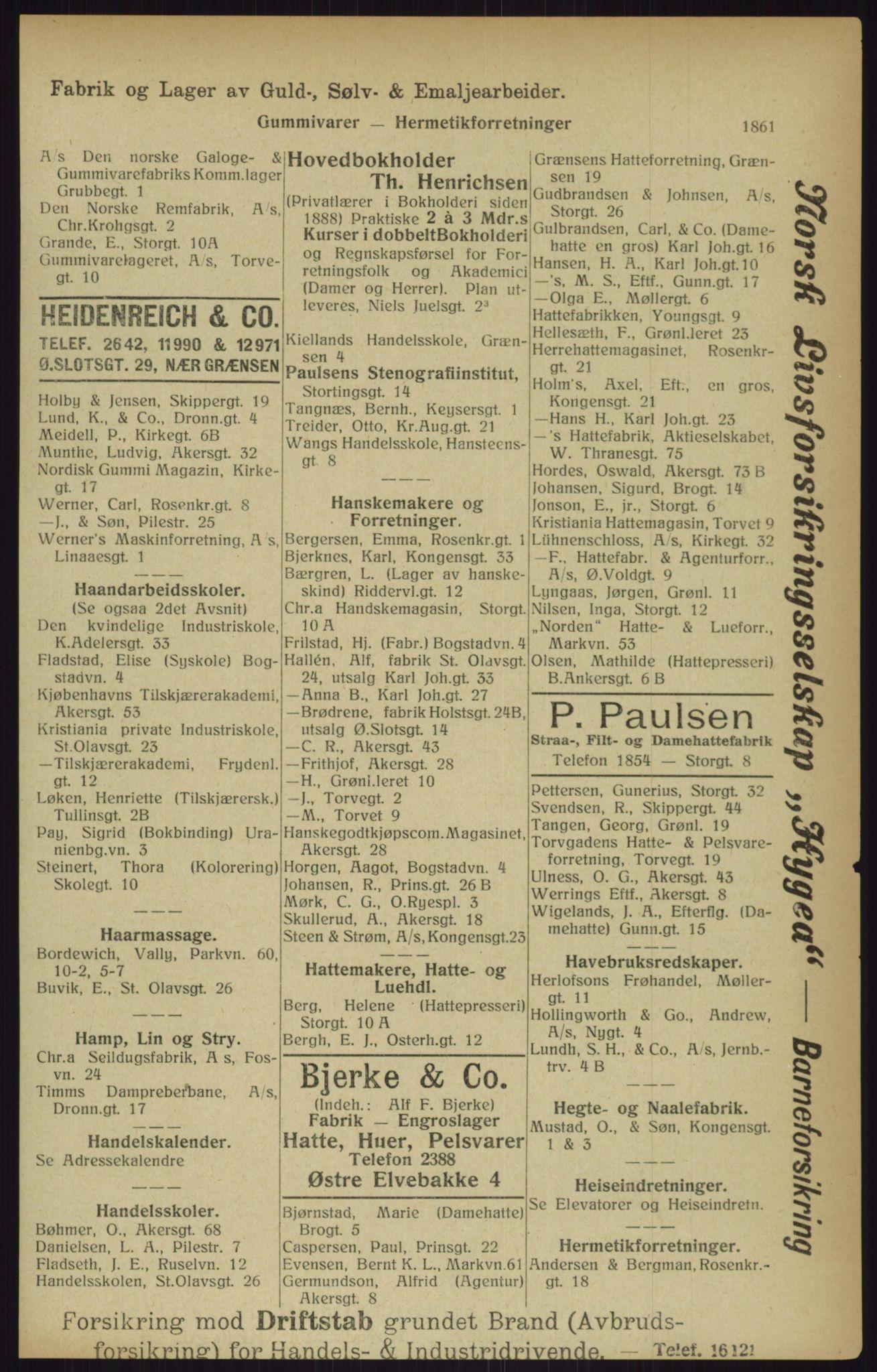 RA, Kristiania adressebok (publikasjon)*, 1916, s. 1861