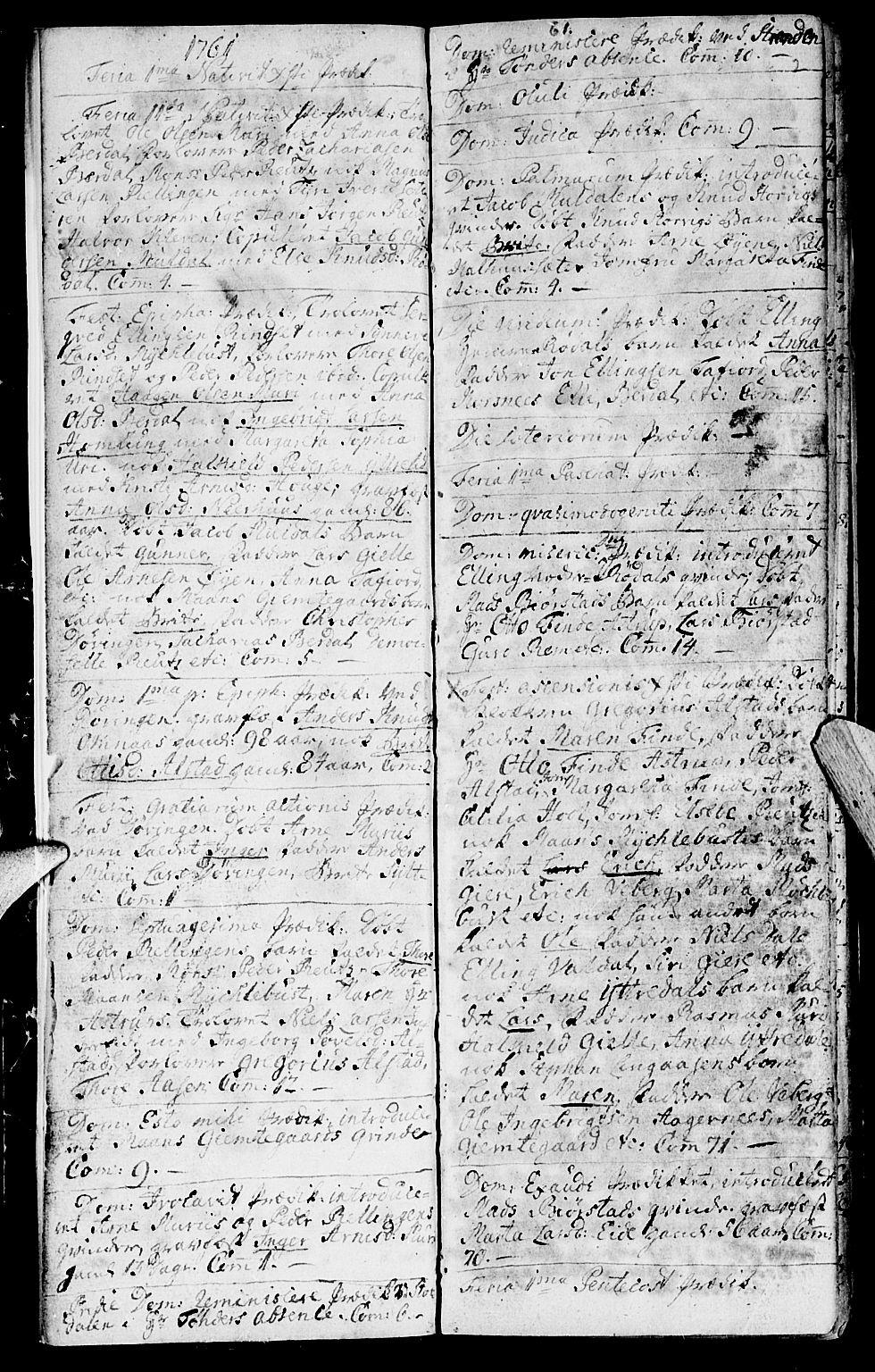 SAT, Ministerialprotokoller, klokkerbøker og fødselsregistre - Møre og Romsdal, 519/L0243: Ministerialbok nr. 519A02, 1760-1770, s. 1-2