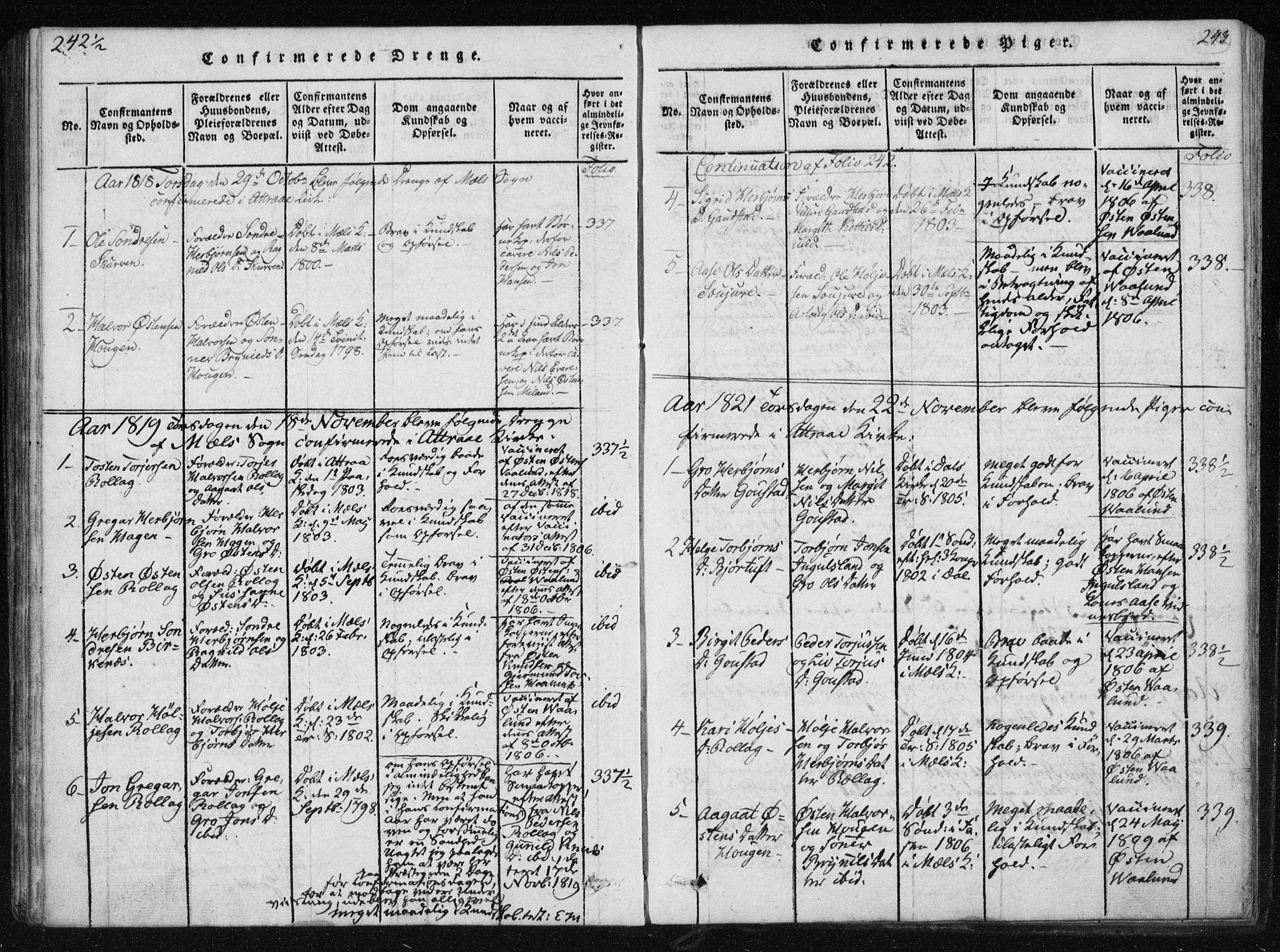 SAKO, Tinn kirkebøker, F/Fb/L0001: Ministerialbok nr. II 1, 1815-1843, s. 243