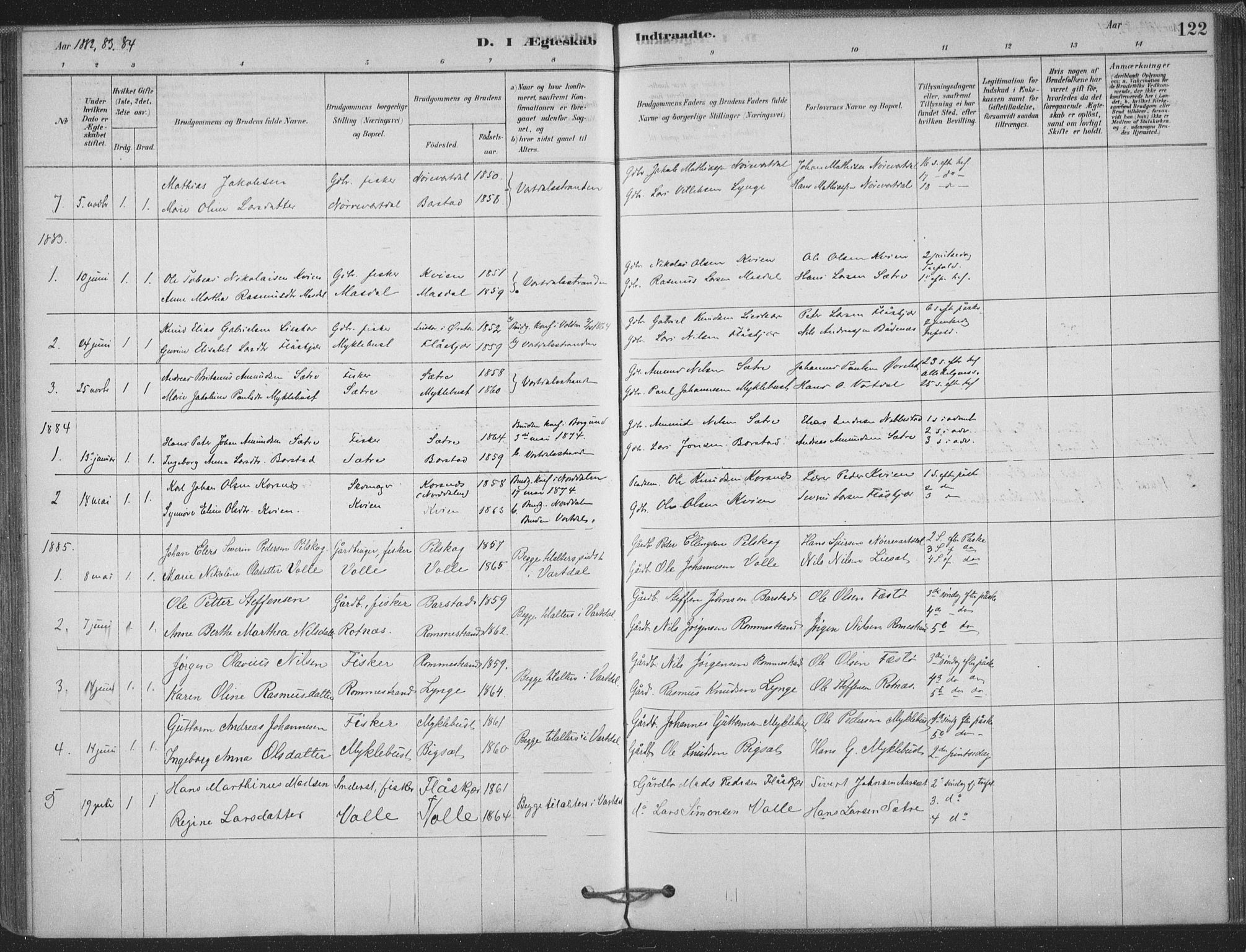 SAT, Ministerialprotokoller, klokkerbøker og fødselsregistre - Møre og Romsdal, 514/L0199: Ministerialbok nr. 514A01, 1878-1912, s. 122