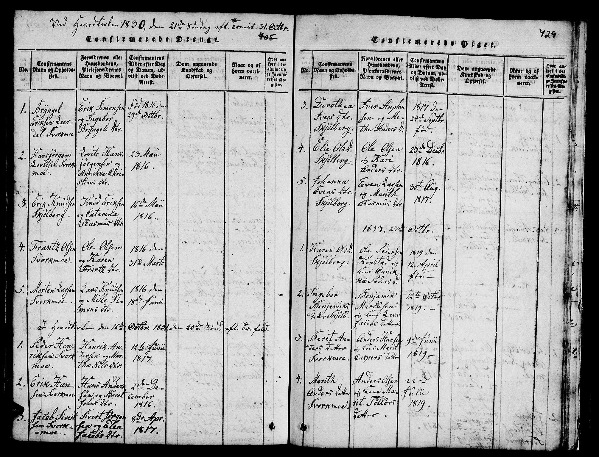 SAT, Ministerialprotokoller, klokkerbøker og fødselsregistre - Sør-Trøndelag, 671/L0842: Klokkerbok nr. 671C01, 1816-1867, s. 428-429