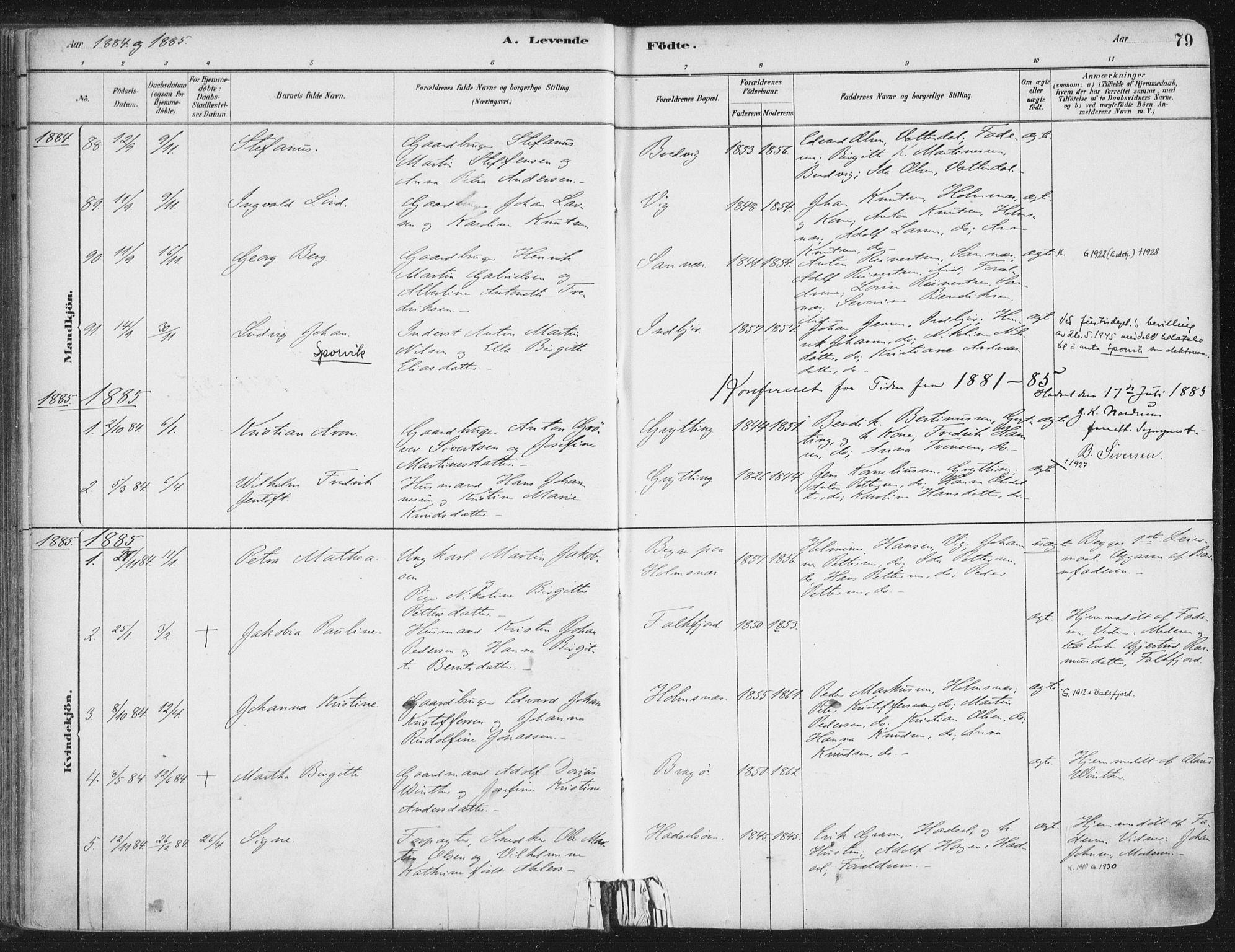 SAT, Ministerialprotokoller, klokkerbøker og fødselsregistre - Nordland, 888/L1244: Ministerialbok nr. 888A10, 1880-1890, s. 79