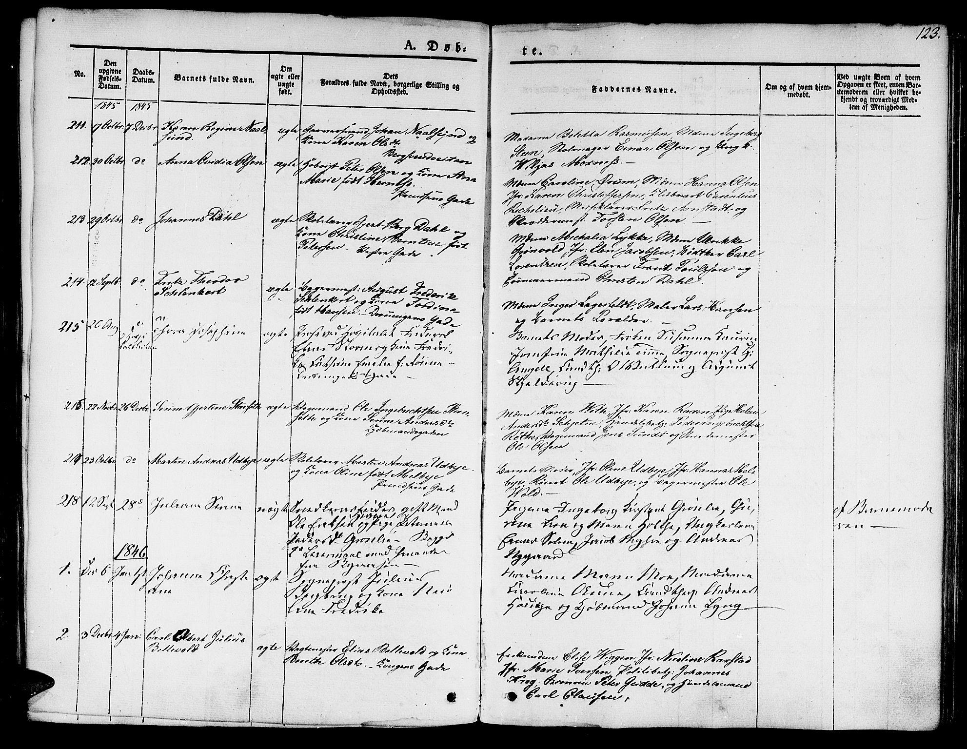 SAT, Ministerialprotokoller, klokkerbøker og fødselsregistre - Sør-Trøndelag, 601/L0048: Ministerialbok nr. 601A16, 1840-1847, s. 123