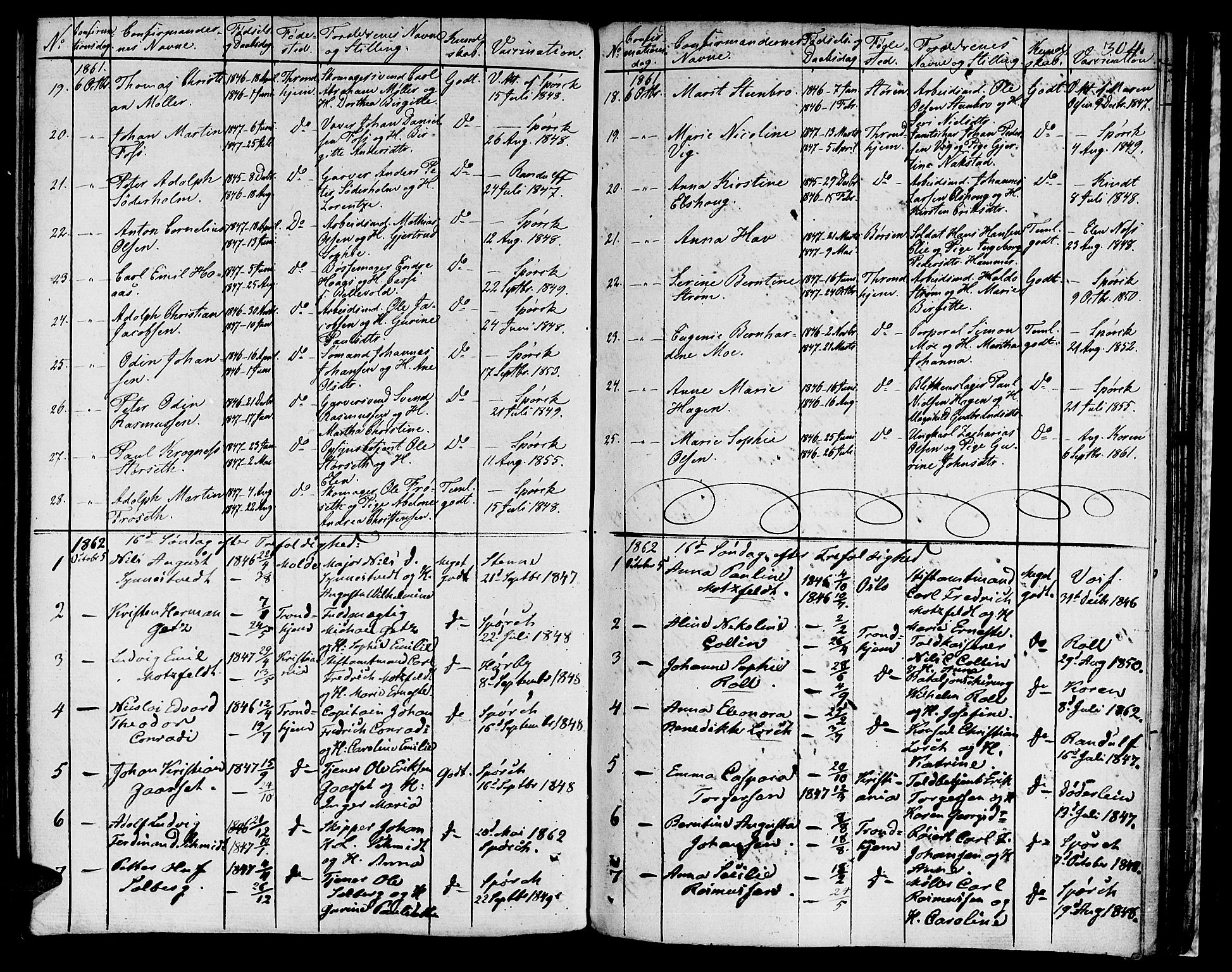 SAT, Ministerialprotokoller, klokkerbøker og fødselsregistre - Sør-Trøndelag, 601/L0070: Residerende kapellans bok nr. 601B03, 1821-1881, s. 304