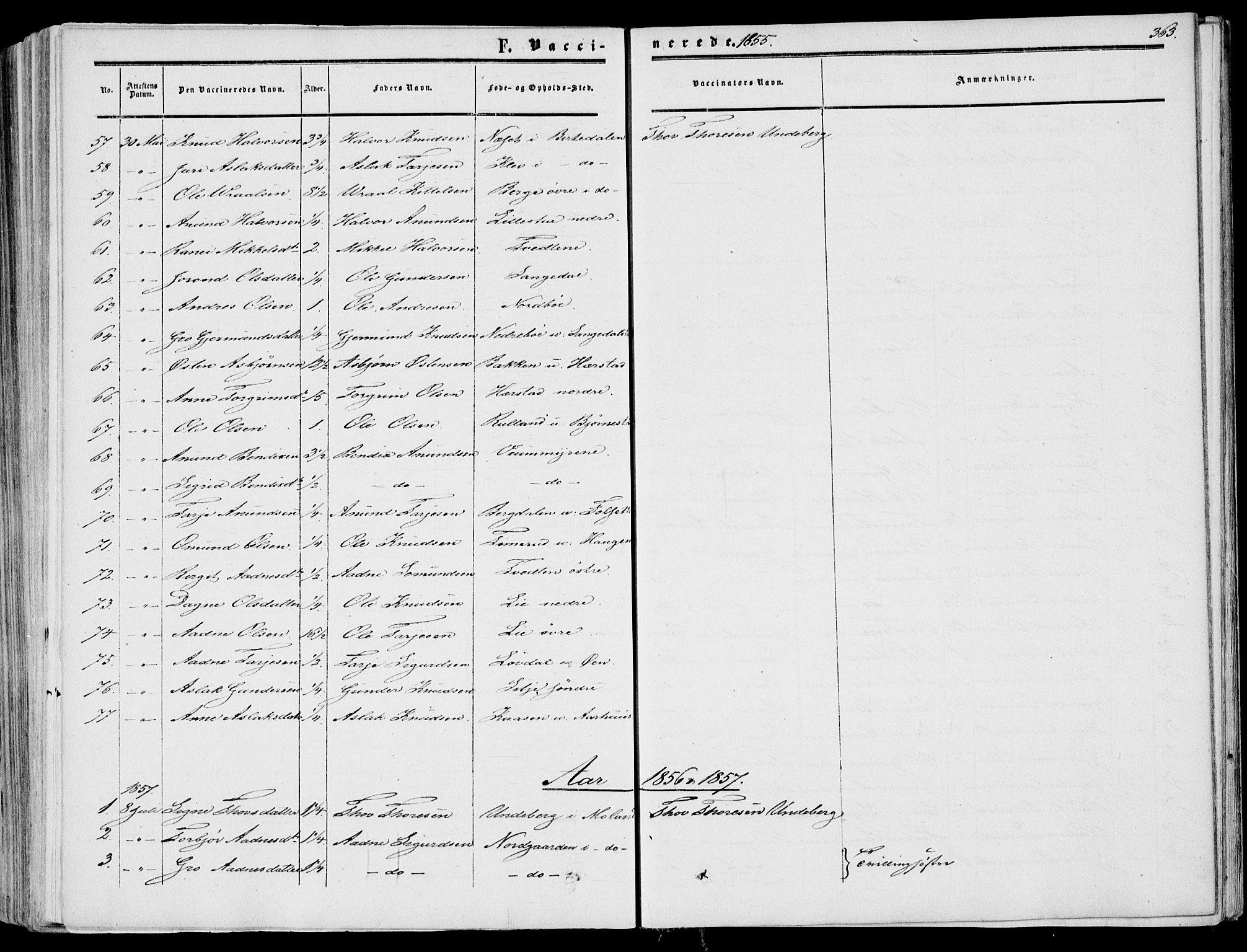 SAKO, Fyresdal kirkebøker, F/Fa/L0005: Ministerialbok nr. I 5, 1855-1871, s. 363