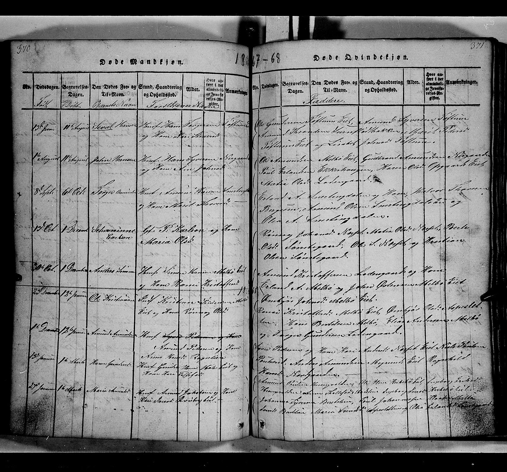 SAH, Gausdal prestekontor, Klokkerbok nr. 2, 1818-1874, s. 370-371