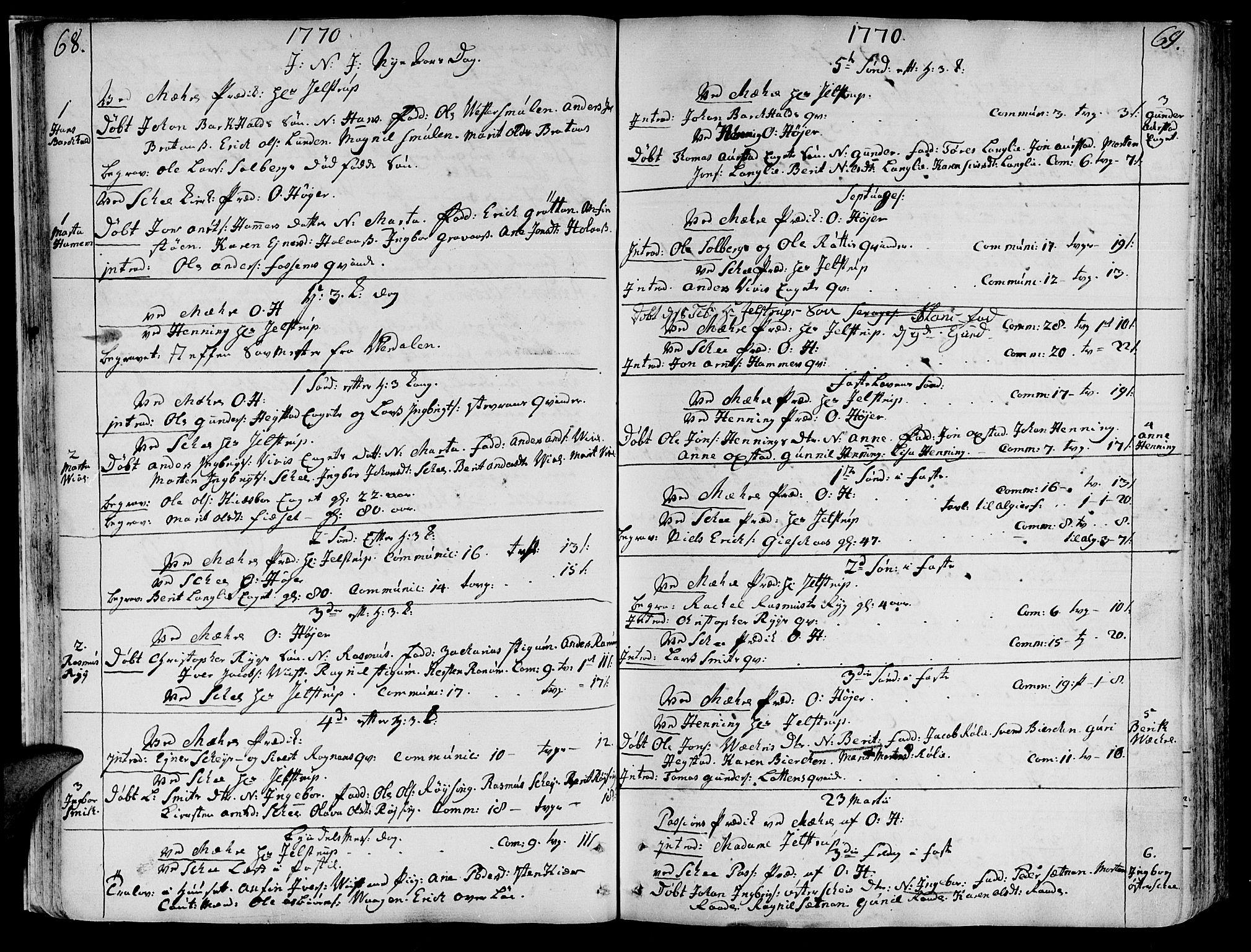 SAT, Ministerialprotokoller, klokkerbøker og fødselsregistre - Nord-Trøndelag, 735/L0331: Ministerialbok nr. 735A02, 1762-1794, s. 68-69