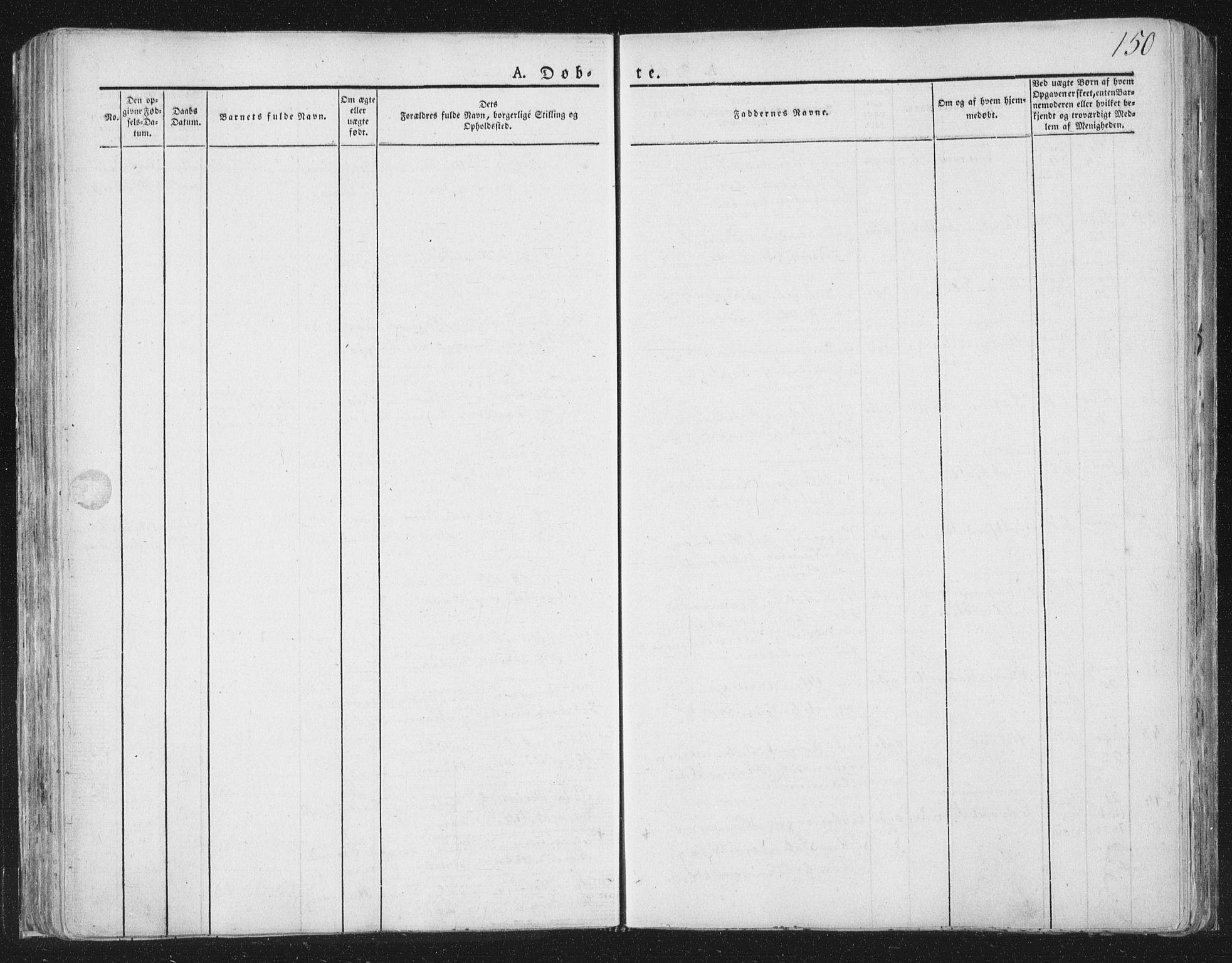 SAT, Ministerialprotokoller, klokkerbøker og fødselsregistre - Nord-Trøndelag, 764/L0551: Ministerialbok nr. 764A07a, 1824-1864, s. 150
