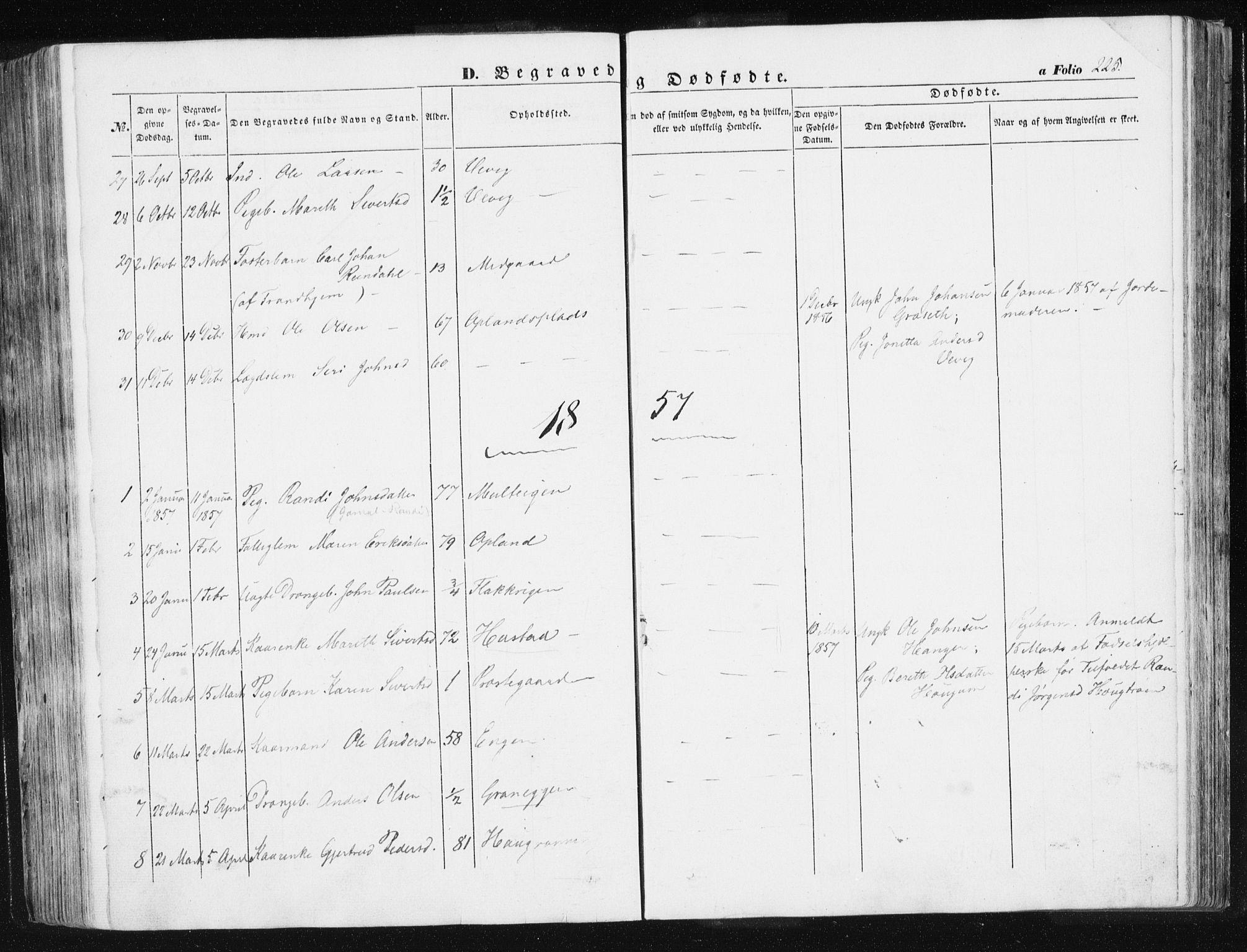 SAT, Ministerialprotokoller, klokkerbøker og fødselsregistre - Sør-Trøndelag, 612/L0376: Ministerialbok nr. 612A08, 1846-1859, s. 225
