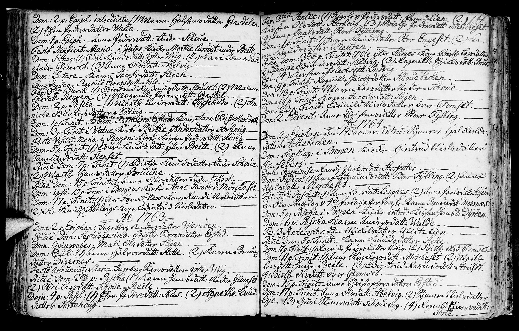 SAT, Ministerialprotokoller, klokkerbøker og fødselsregistre - Møre og Romsdal, 524/L0349: Ministerialbok nr. 524A01, 1698-1779, s. 140
