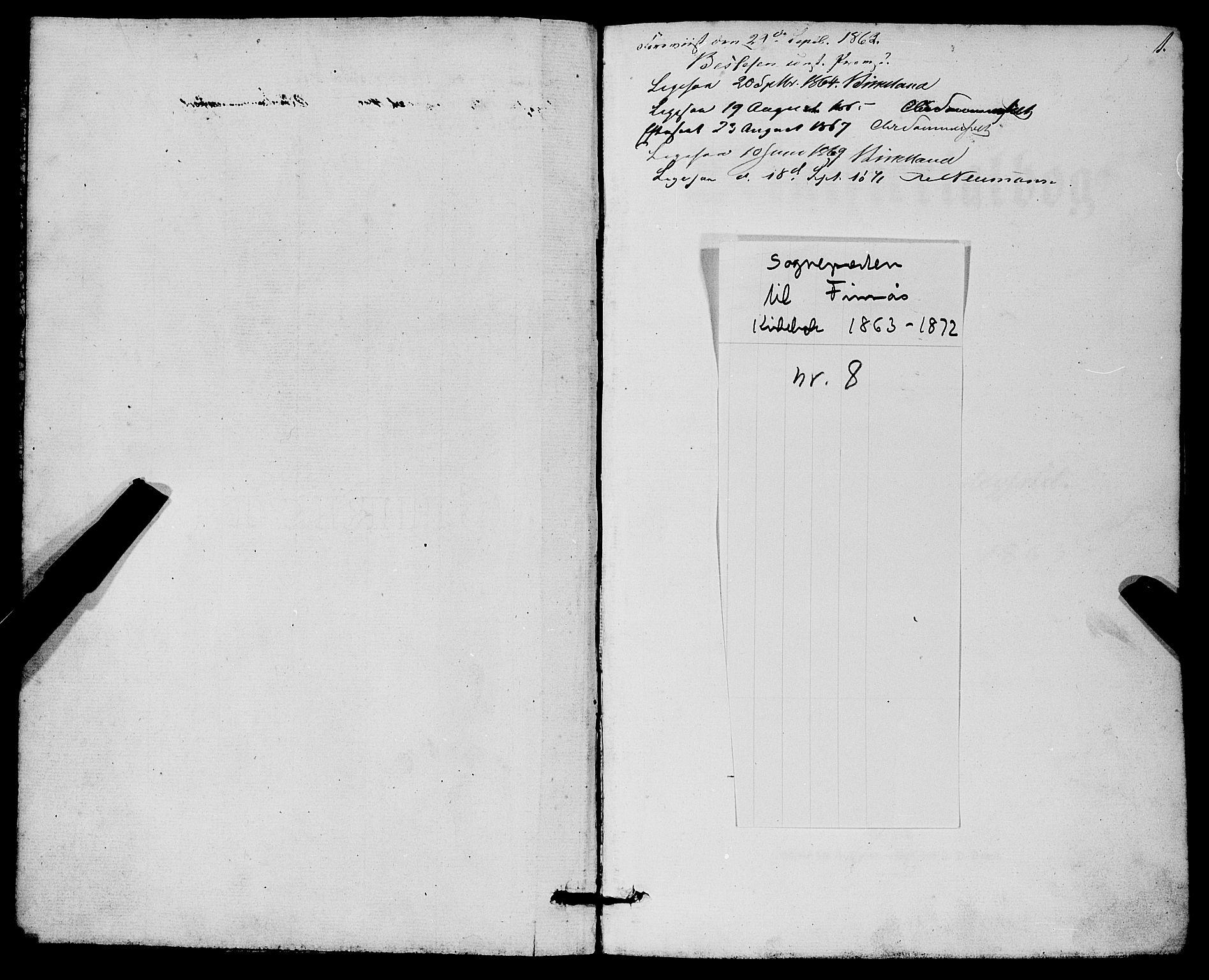 SAB, Finnås sokneprestembete, H/Ha/Haa/Haaa/L0008: Ministerialbok nr. A 8, 1863-1872, s. 1