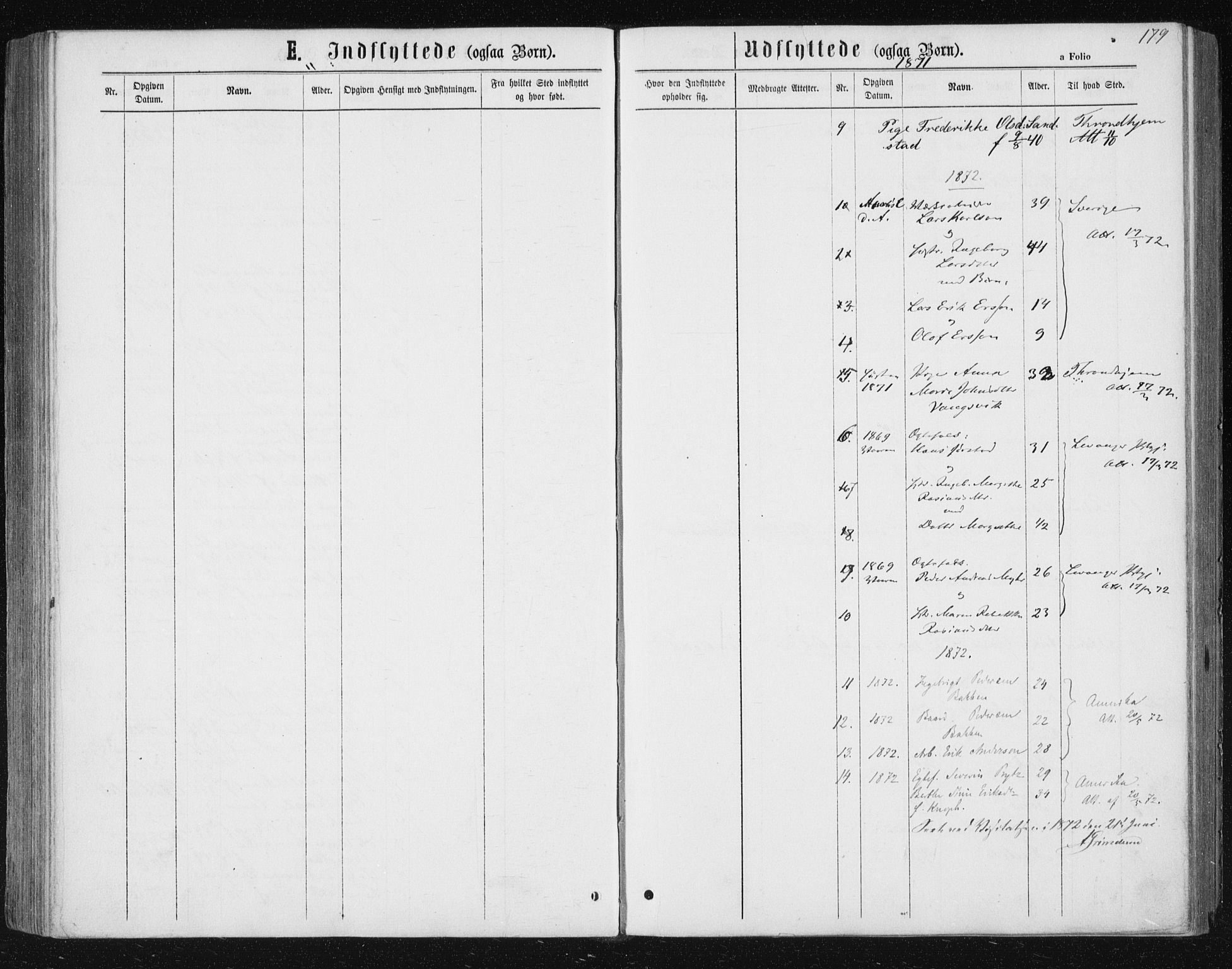 SAT, Ministerialprotokoller, klokkerbøker og fødselsregistre - Nord-Trøndelag, 722/L0219: Ministerialbok nr. 722A06, 1868-1880, s. 179