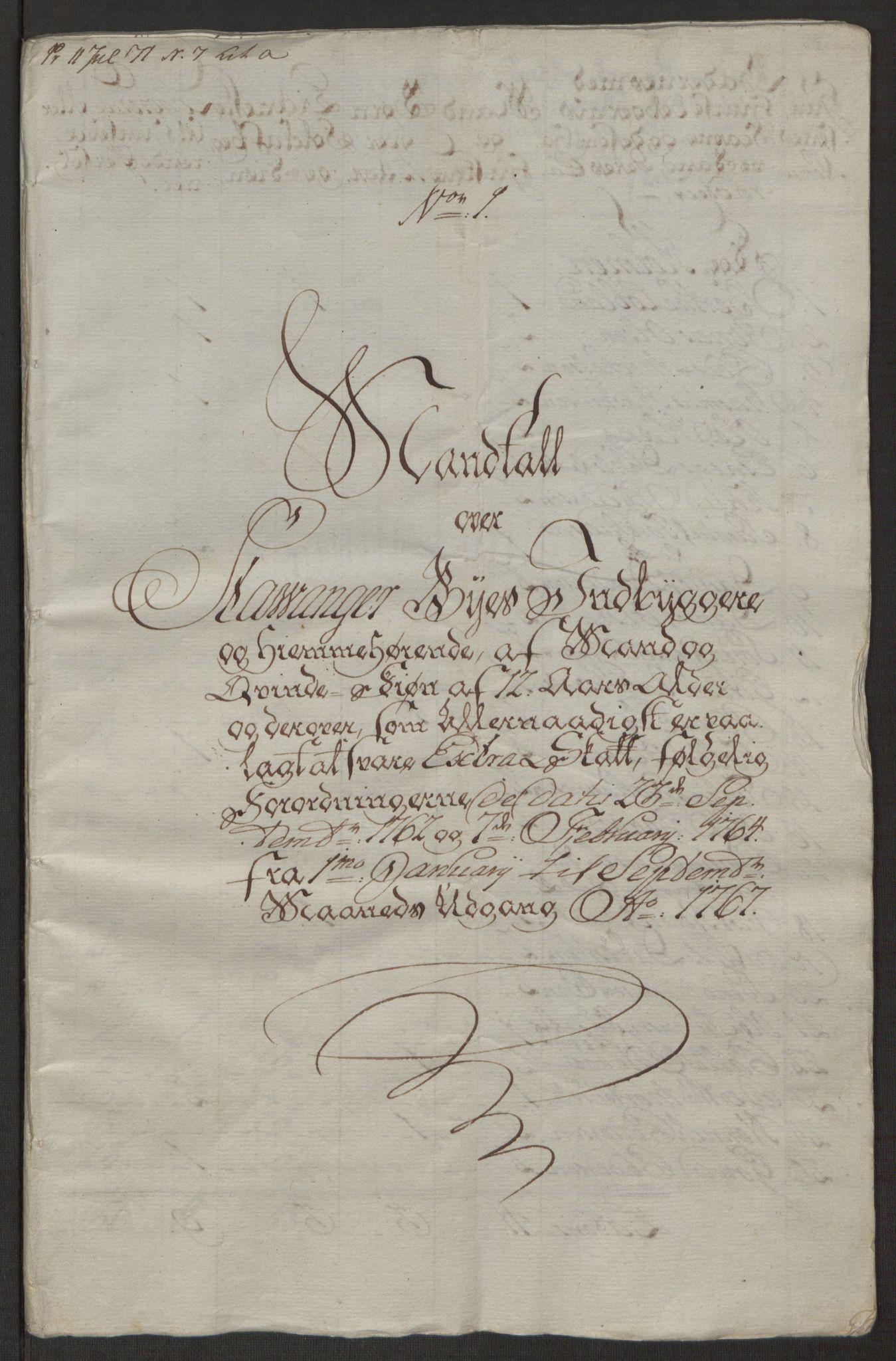 RA, Rentekammeret inntil 1814, Reviderte regnskaper, Byregnskaper, R/Ro/L0305: [O6] Kontribusjonsregnskap, 1762-1768, s. 216