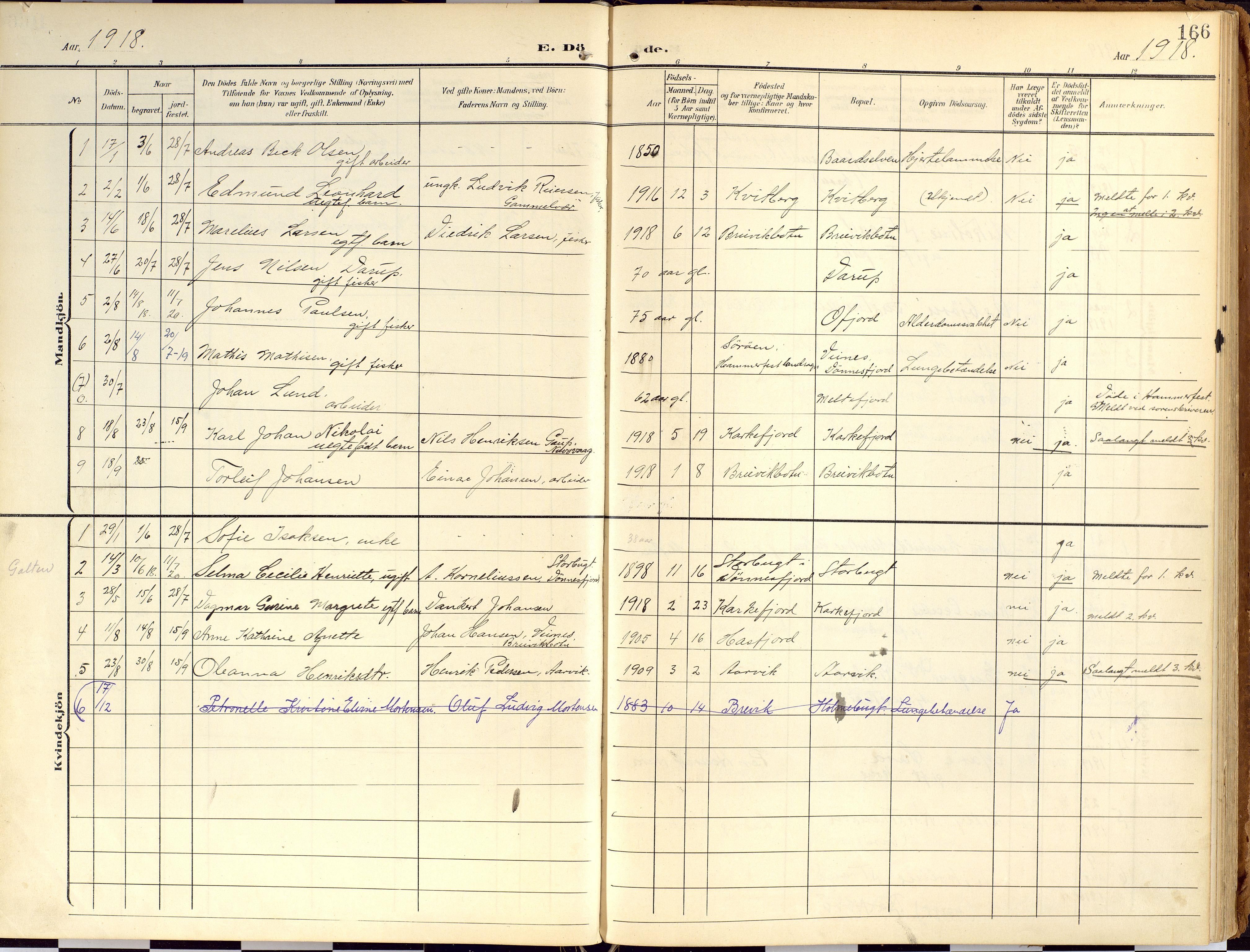 SATØ, Loppa sokneprestkontor, H/Ha/L0010kirke: Ministerialbok nr. 10, 1907-1922, s. 166
