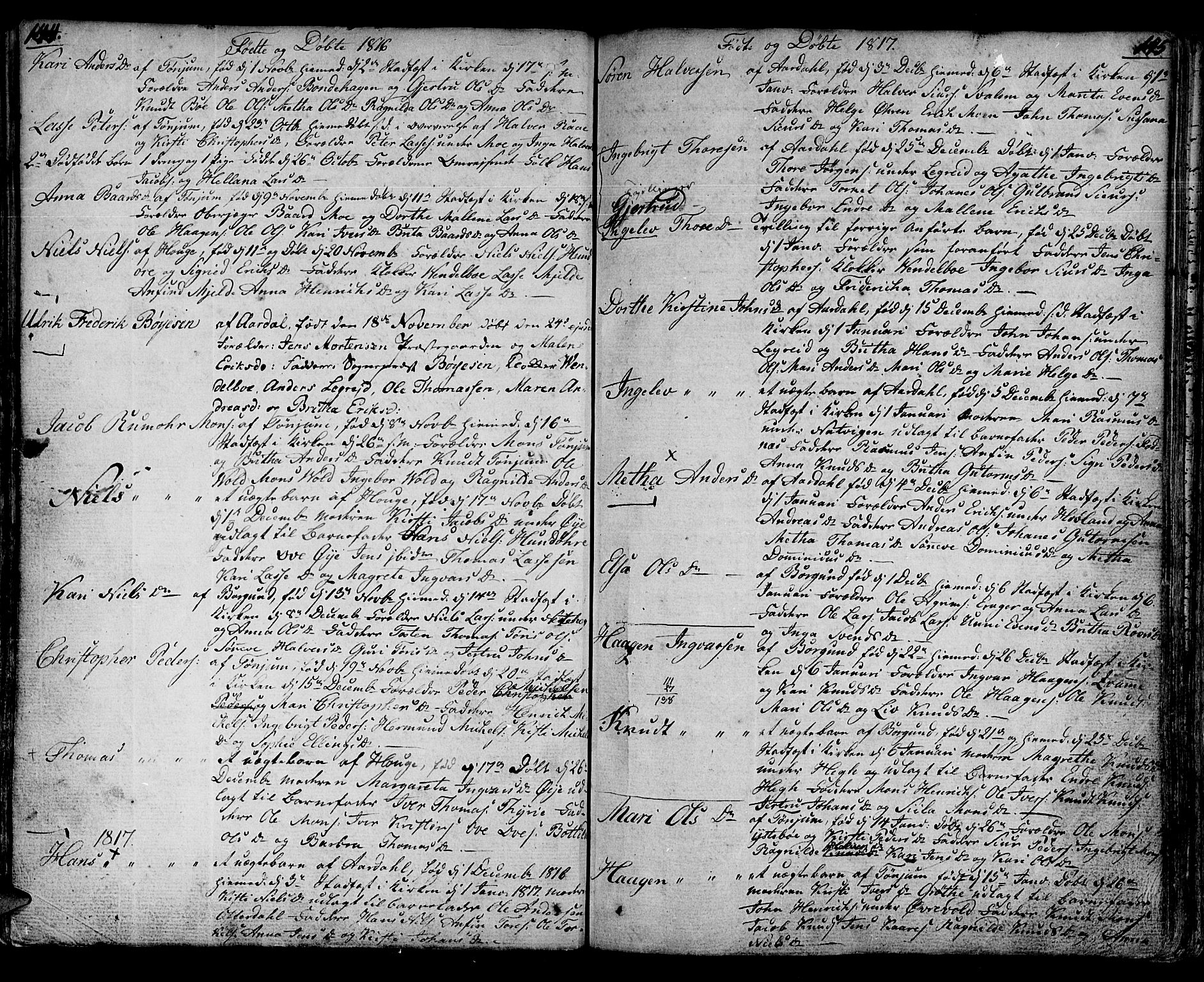 SAB, Lærdal sokneprestembete, Ministerialbok nr. A 4, 1805-1821, s. 144-145