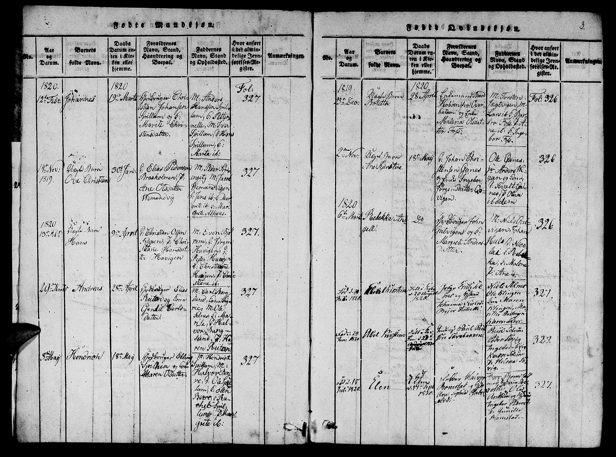 SAT, Ministerialprotokoller, klokkerbøker og fødselsregistre - Nord-Trøndelag, 770/L0588: Ministerialbok nr. 770A02, 1819-1823, s. 3