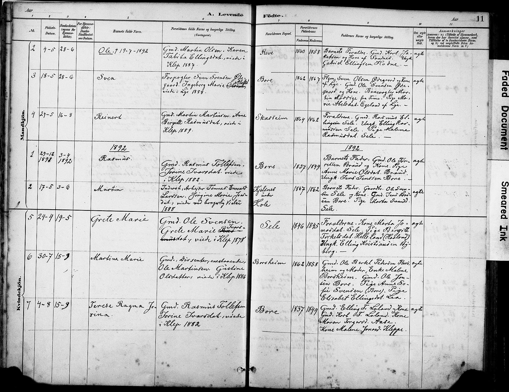 SAST, Klepp sokneprestkontor, 30BA/L0008: Ministerialbok nr. A 9, 1886-1919, s. 11