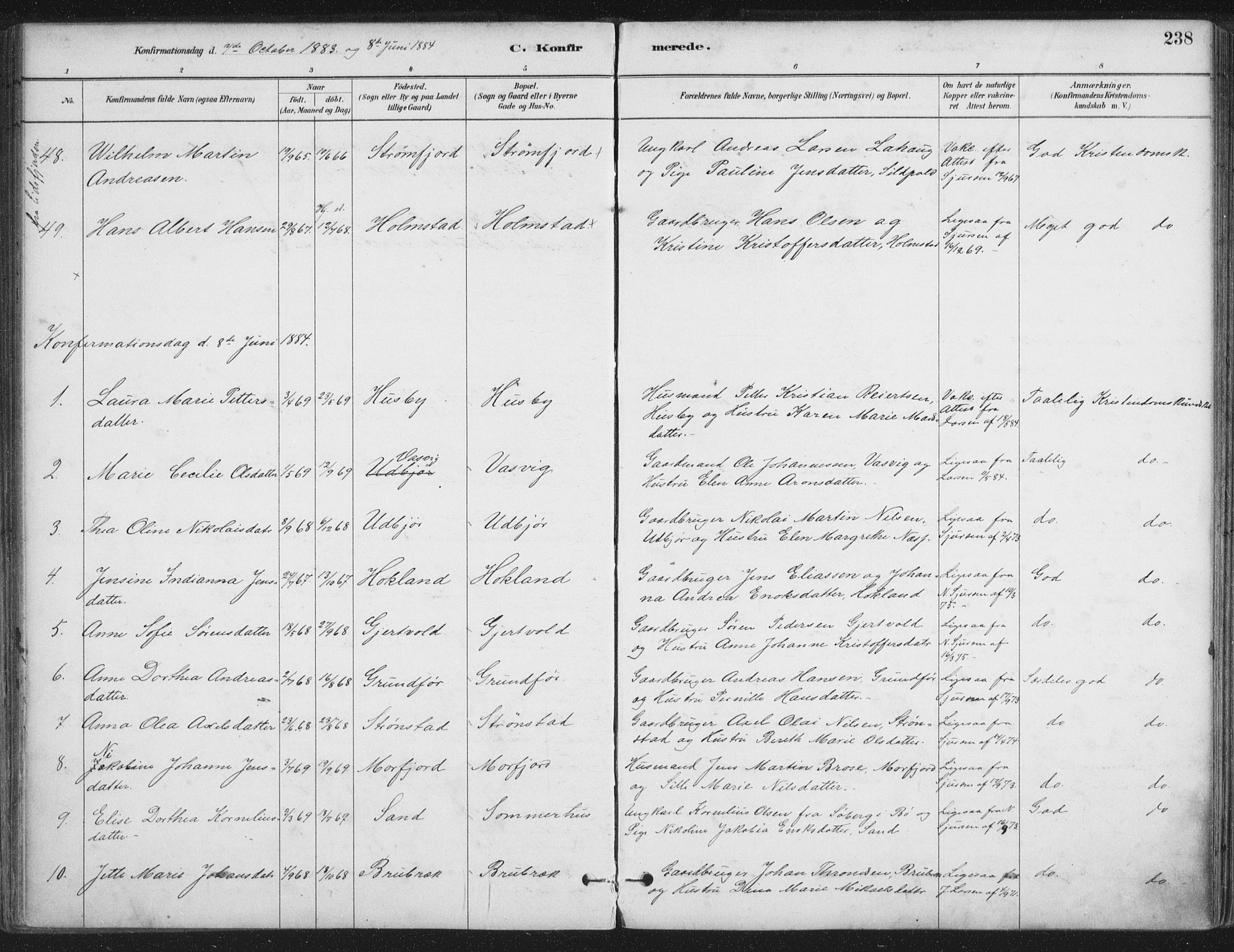 SAT, Ministerialprotokoller, klokkerbøker og fødselsregistre - Nordland, 888/L1244: Ministerialbok nr. 888A10, 1880-1890, s. 238