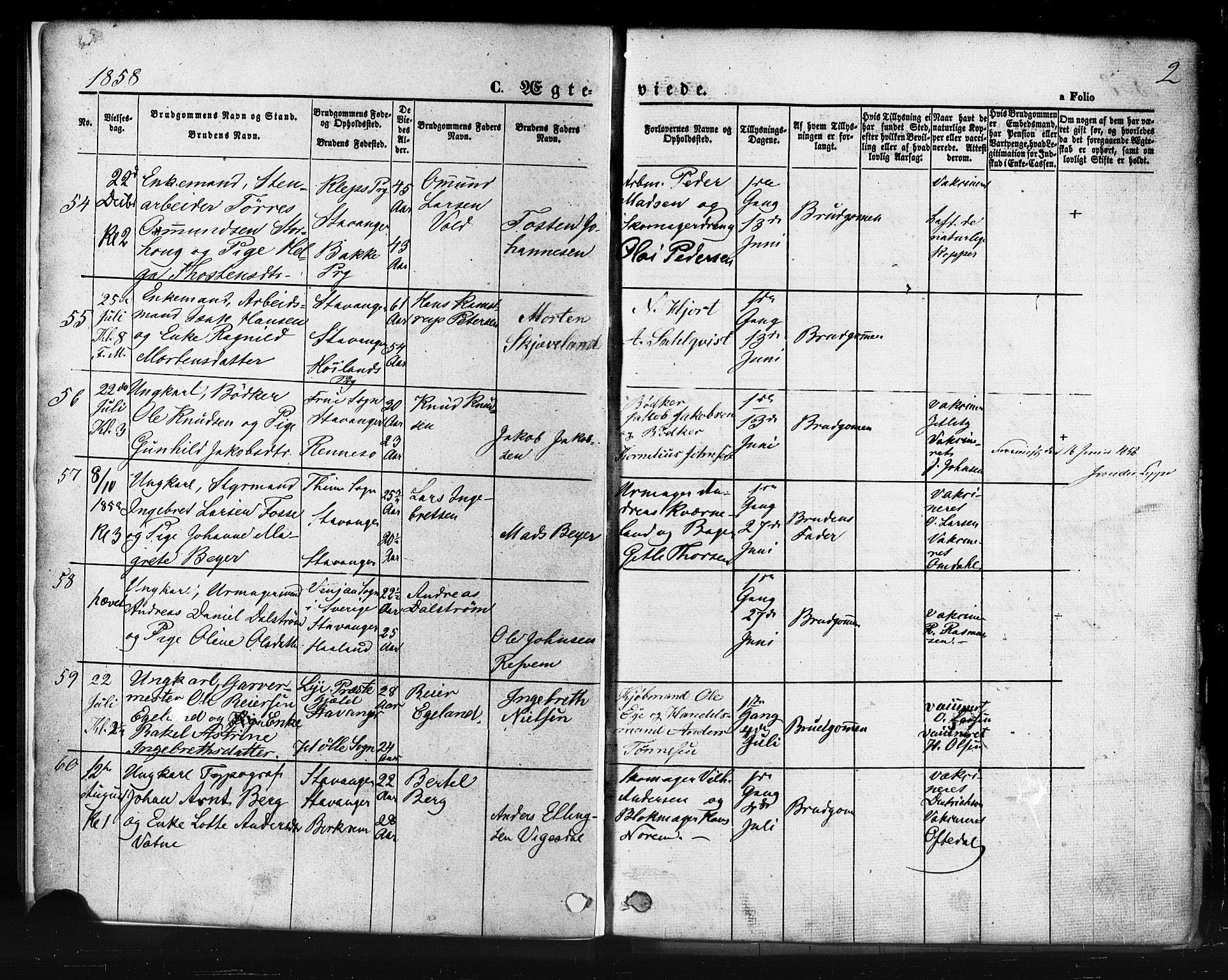 SAST, Domkirken sokneprestkontor, 30/30BB/L0011: Klokkerbok nr. B 11, 1858-1876, s. 2