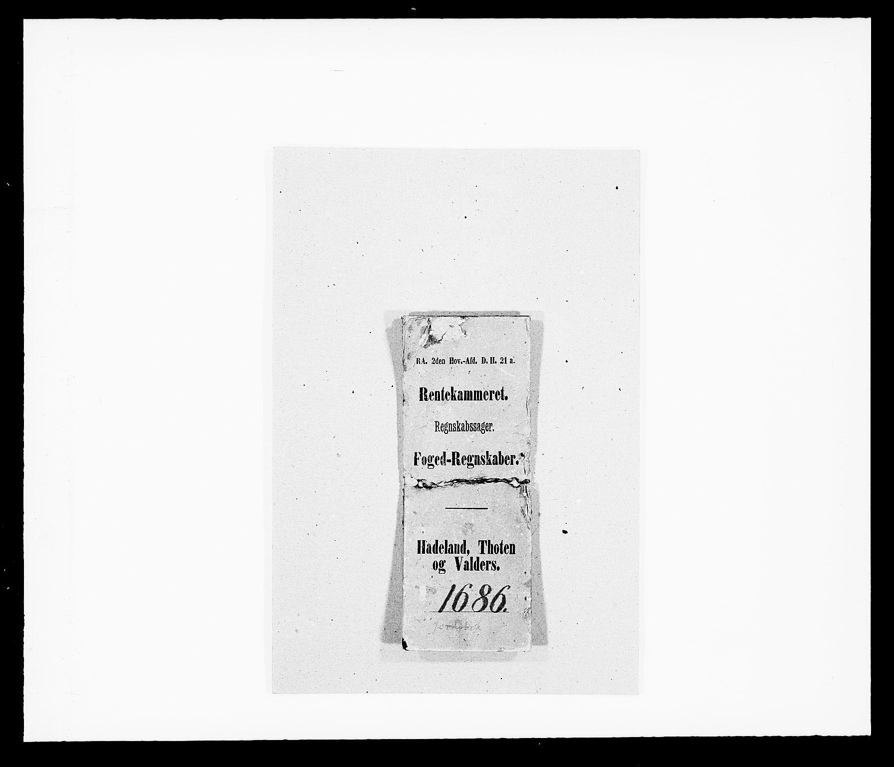 RA, Rentekammeret inntil 1814, Reviderte regnskaper, Fogderegnskap, R18/L1285: Fogderegnskap Hadeland, Toten og Valdres, 1686, s. 11