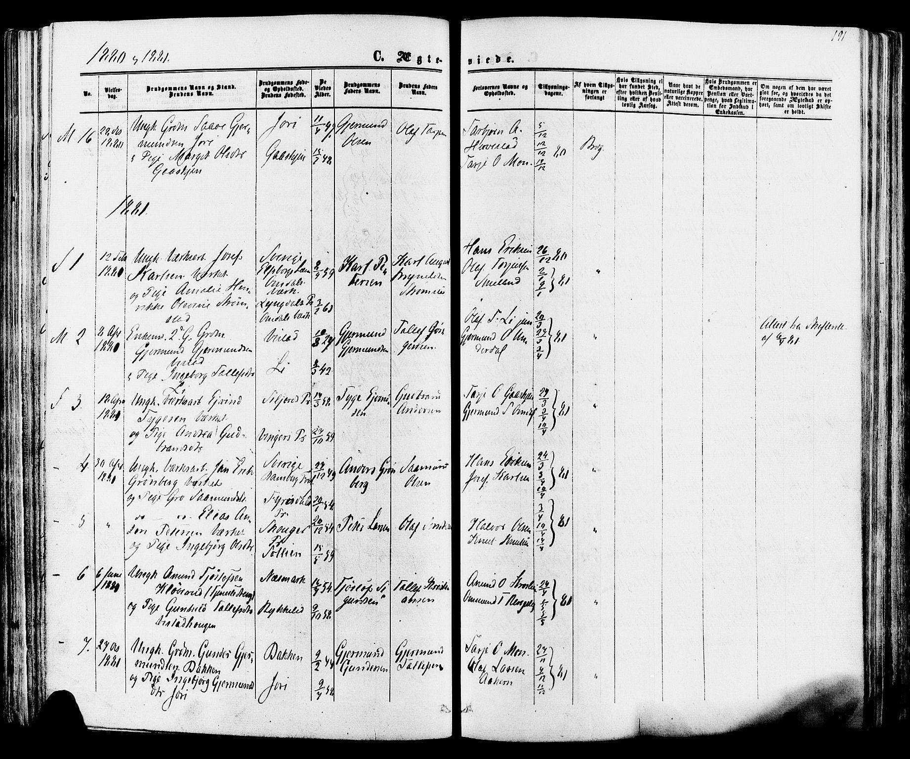SAKO, Mo kirkebøker, F/Fa/L0006: Ministerialbok nr. I 6, 1865-1885, s. 191