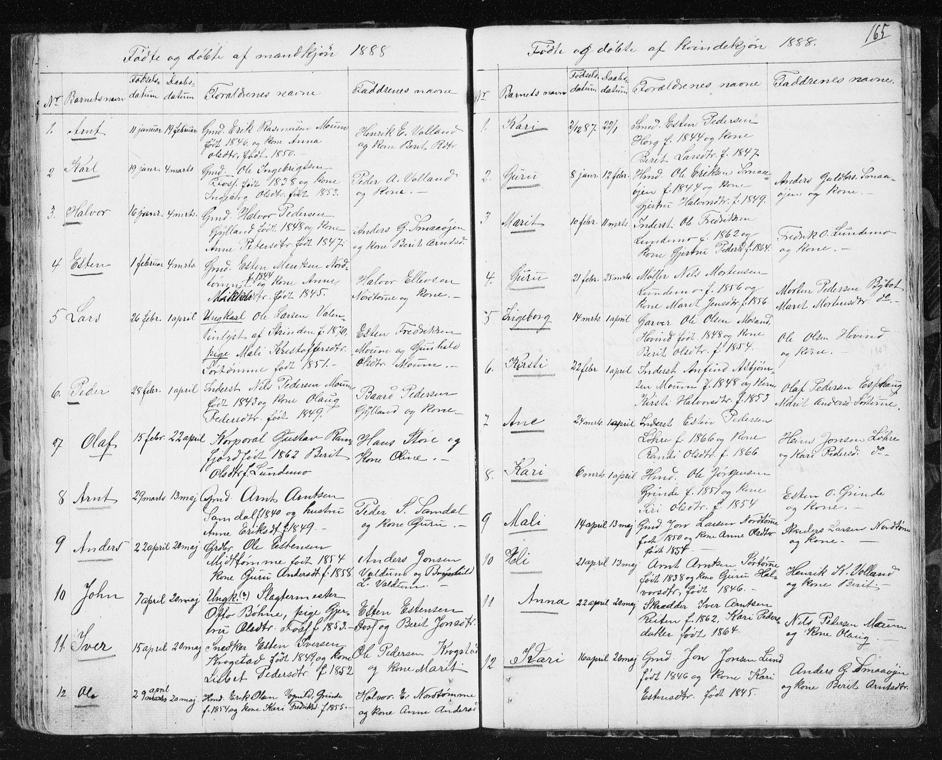 SAT, Ministerialprotokoller, klokkerbøker og fødselsregistre - Sør-Trøndelag, 692/L1110: Klokkerbok nr. 692C05, 1849-1889, s. 165