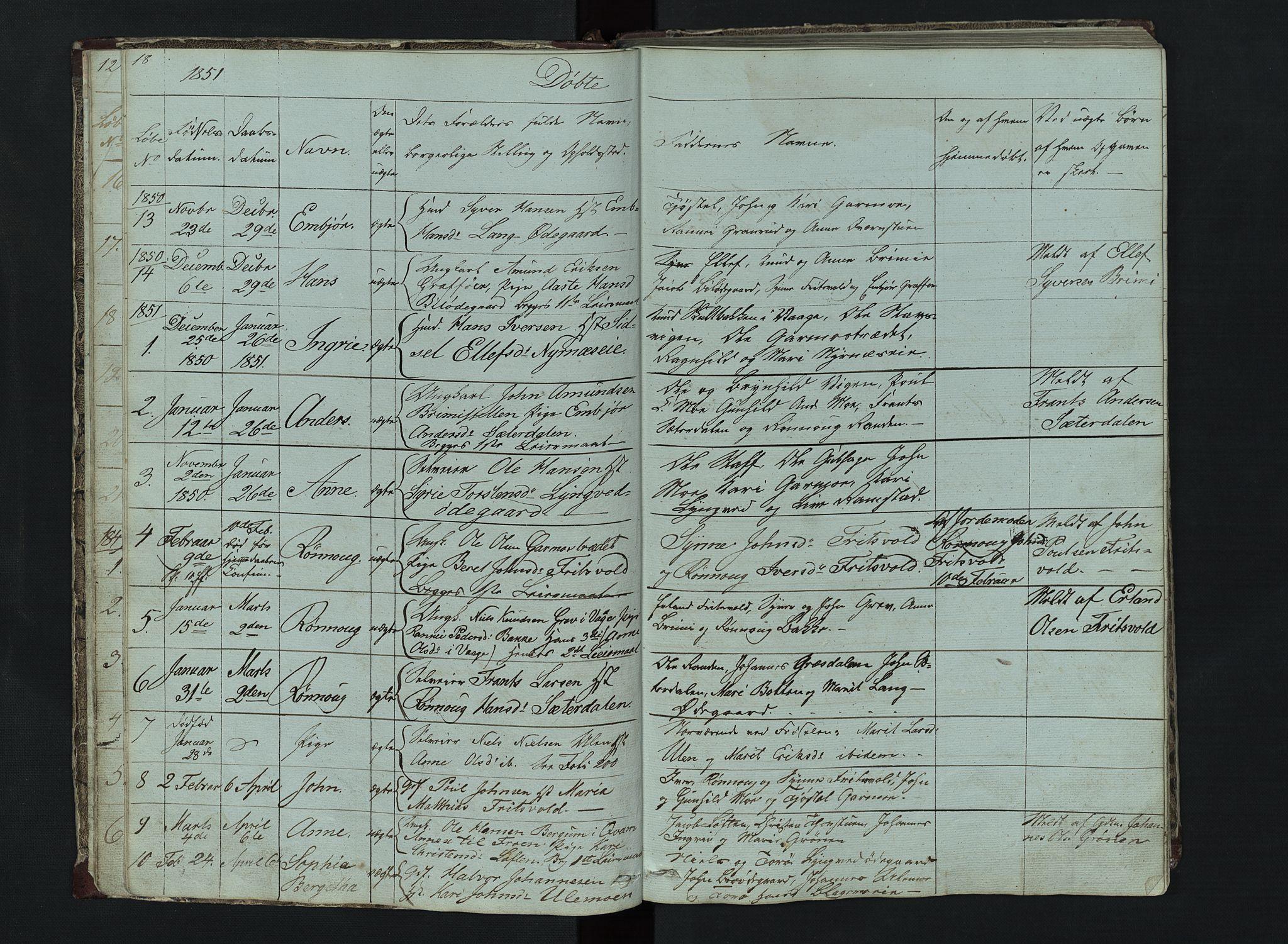 SAH, Lom prestekontor, L/L0014: Klokkerbok nr. 14, 1845-1876, s. 18-19