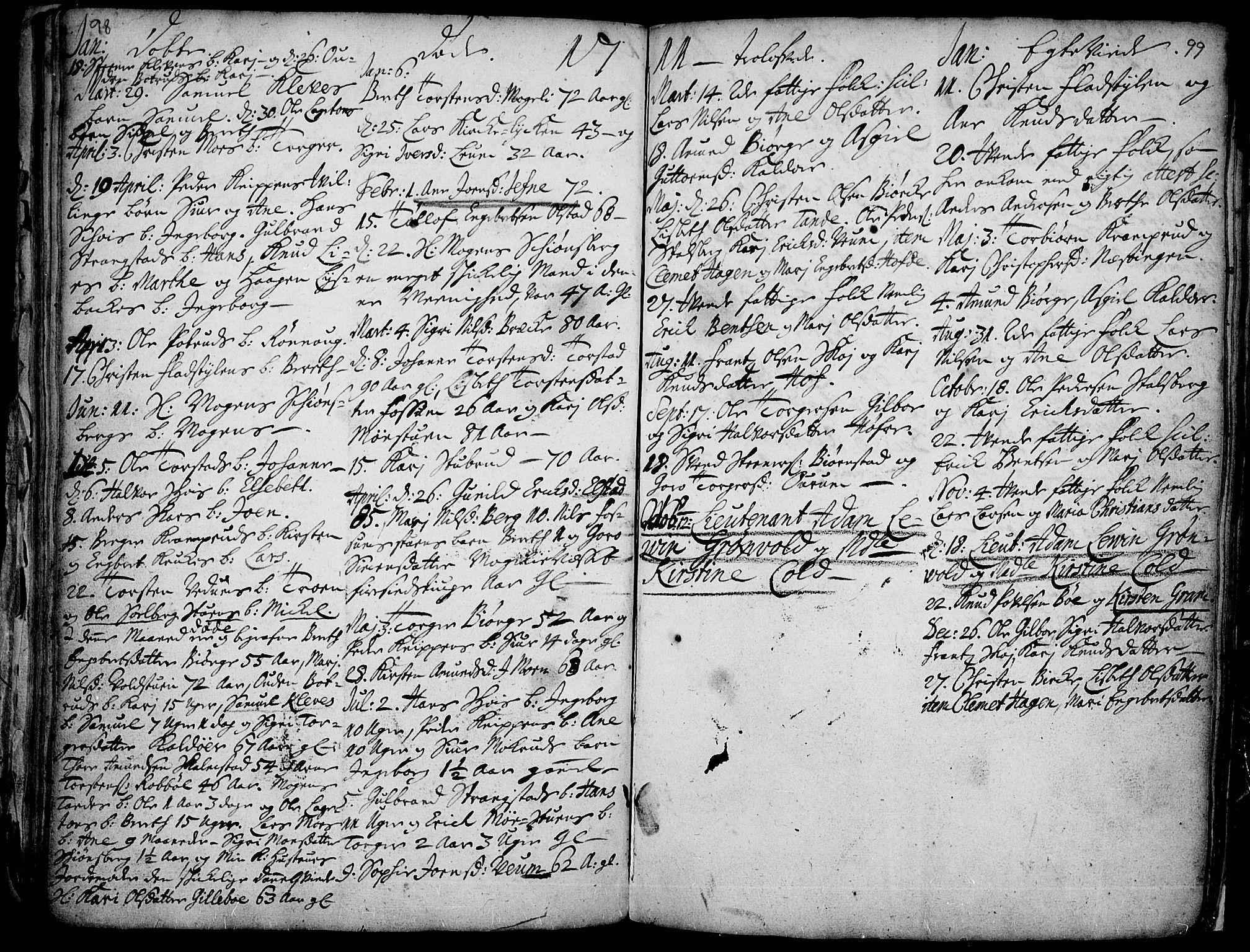 SAH, Øyer prestekontor, Ministerialbok nr. 1, 1671-1727, s. 98-99