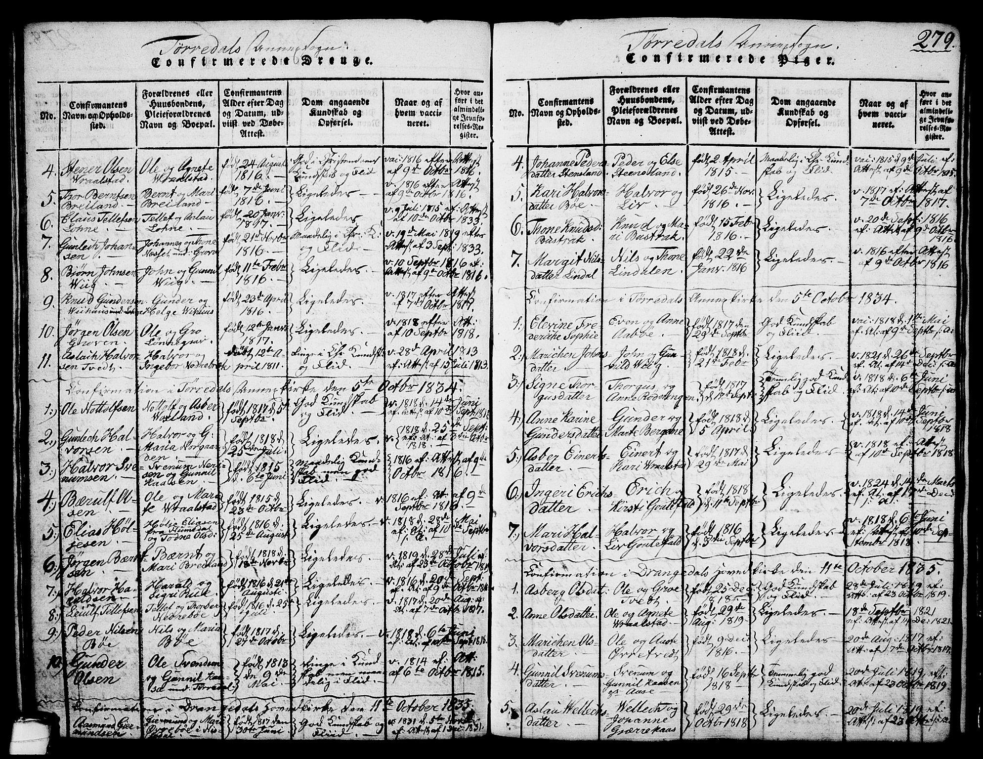SAKO, Drangedal kirkebøker, G/Ga/L0001: Klokkerbok nr. I 1 /2, 1814-1856, s. 279
