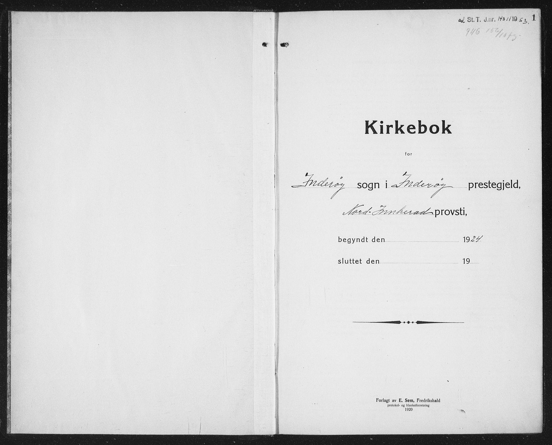 SAT, Ministerialprotokoller, klokkerbøker og fødselsregistre - Nord-Trøndelag, 730/L0303: Klokkerbok nr. 730C06, 1924-1933, s. 1