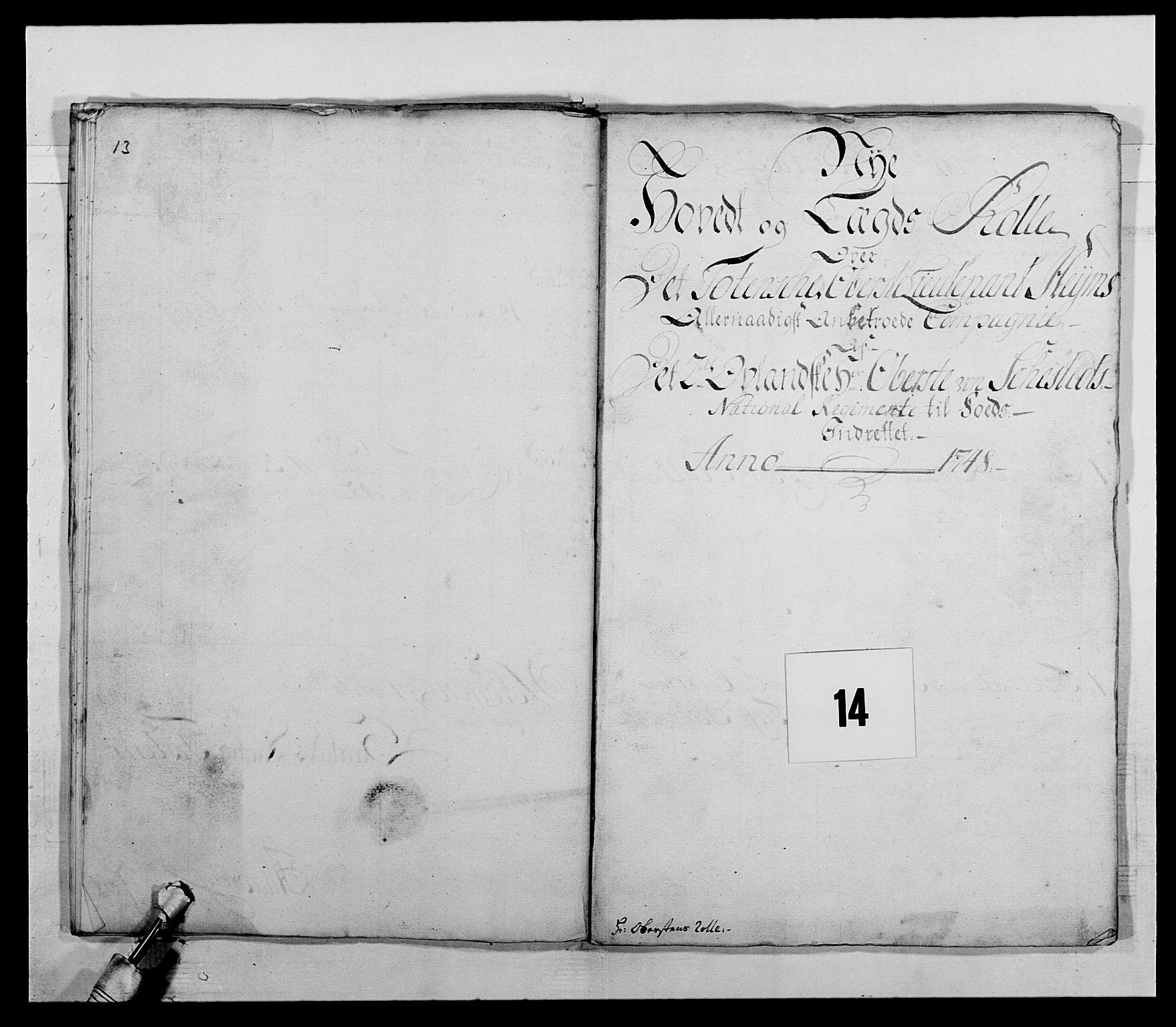 RA, Kommanderende general (KG I) med Det norske krigsdirektorium, E/Ea/L0505: 2. Opplandske regiment, 1748, s. 377