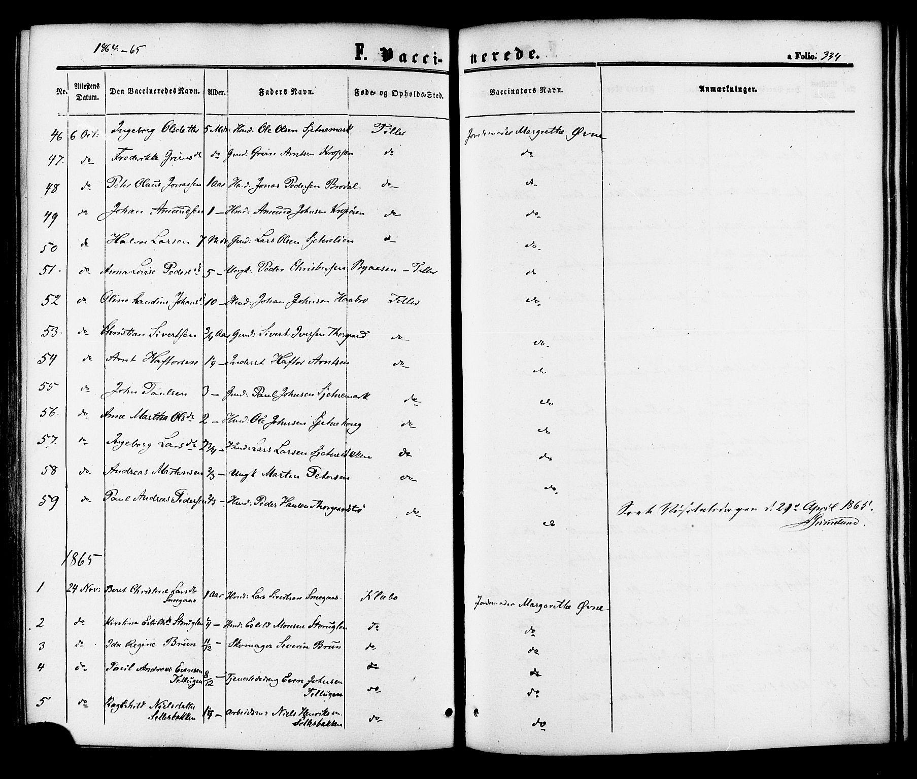 SAT, Ministerialprotokoller, klokkerbøker og fødselsregistre - Sør-Trøndelag, 618/L0442: Ministerialbok nr. 618A06 /1, 1863-1879, s. 334