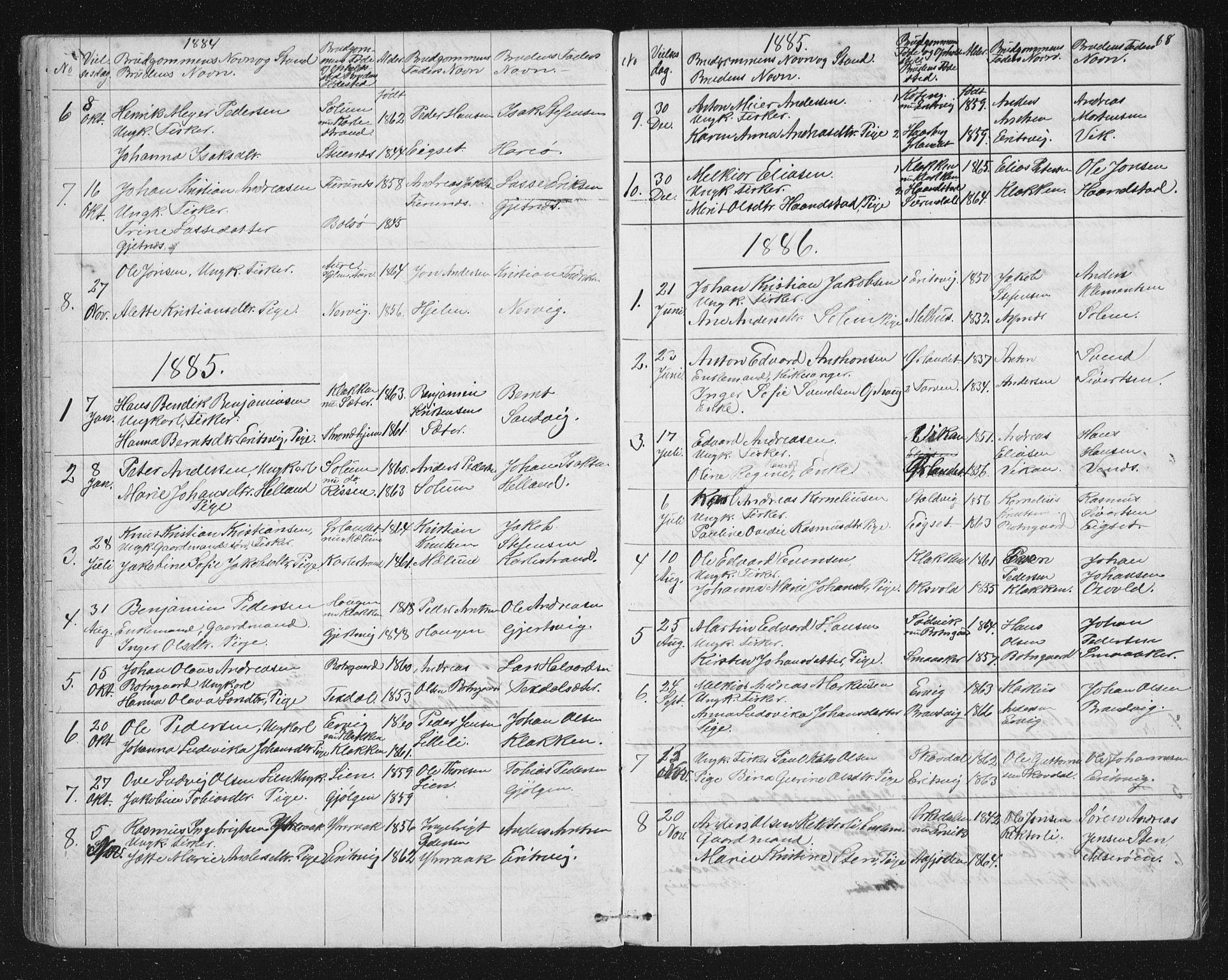 SAT, Ministerialprotokoller, klokkerbøker og fødselsregistre - Sør-Trøndelag, 651/L0647: Klokkerbok nr. 651C01, 1866-1914, s. 68