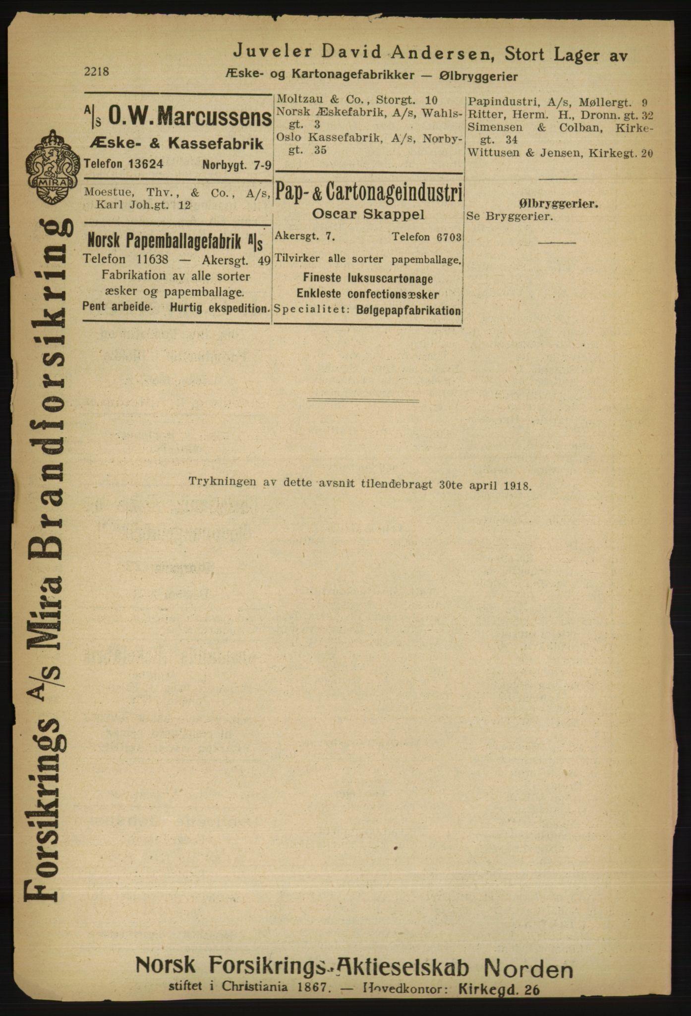 RA, Kristiania adressebok (publikasjon)*, 1918, s. 2218