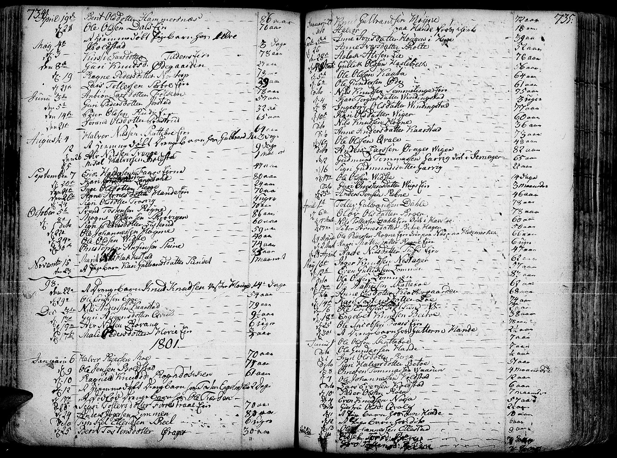 SAH, Slidre prestekontor, Ministerialbok nr. 1, 1724-1814, s. 734-735
