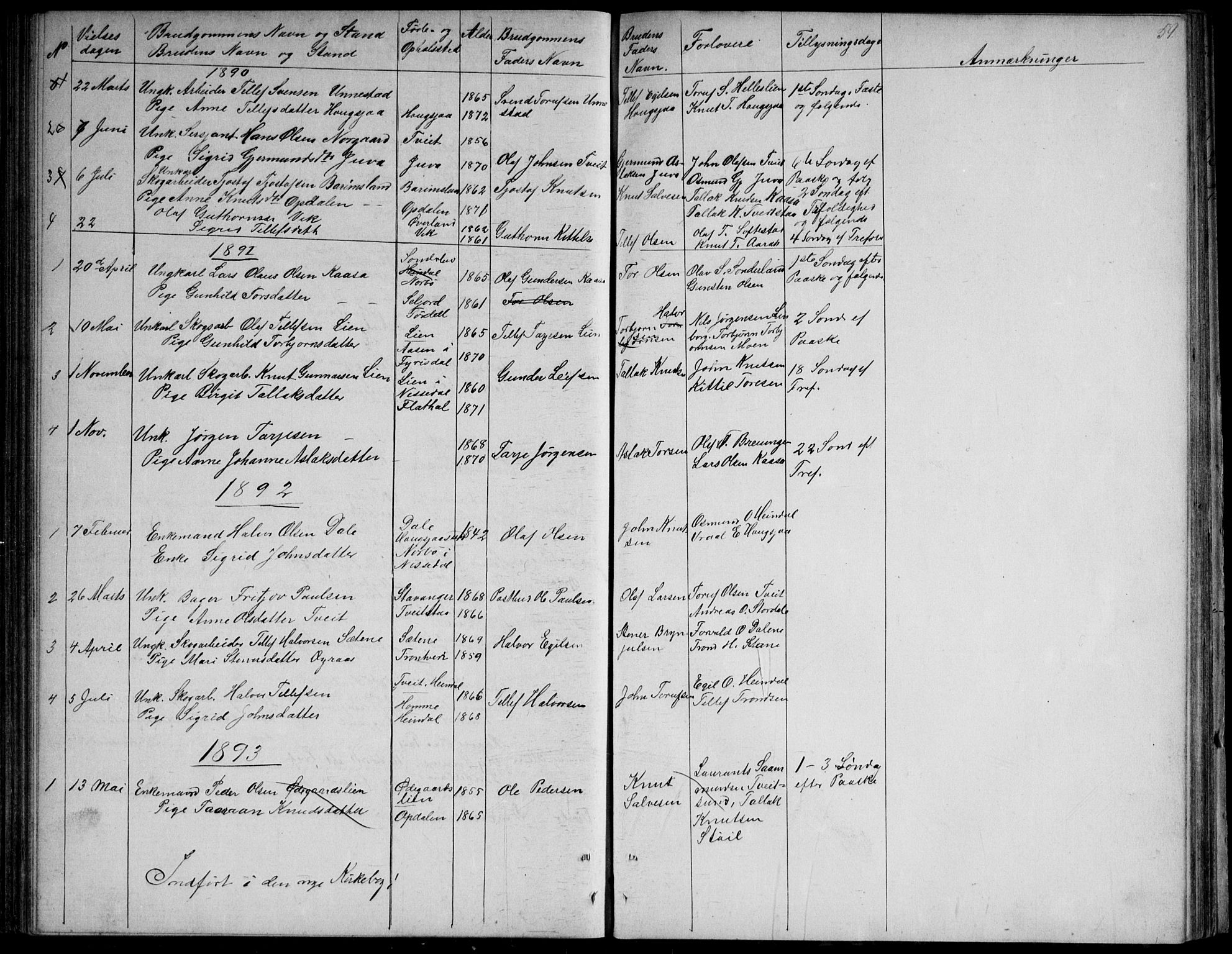 SAKO, Nissedal kirkebøker, G/Gb/L0002: Klokkerbok nr. II 2, 1863-1892, s. 59