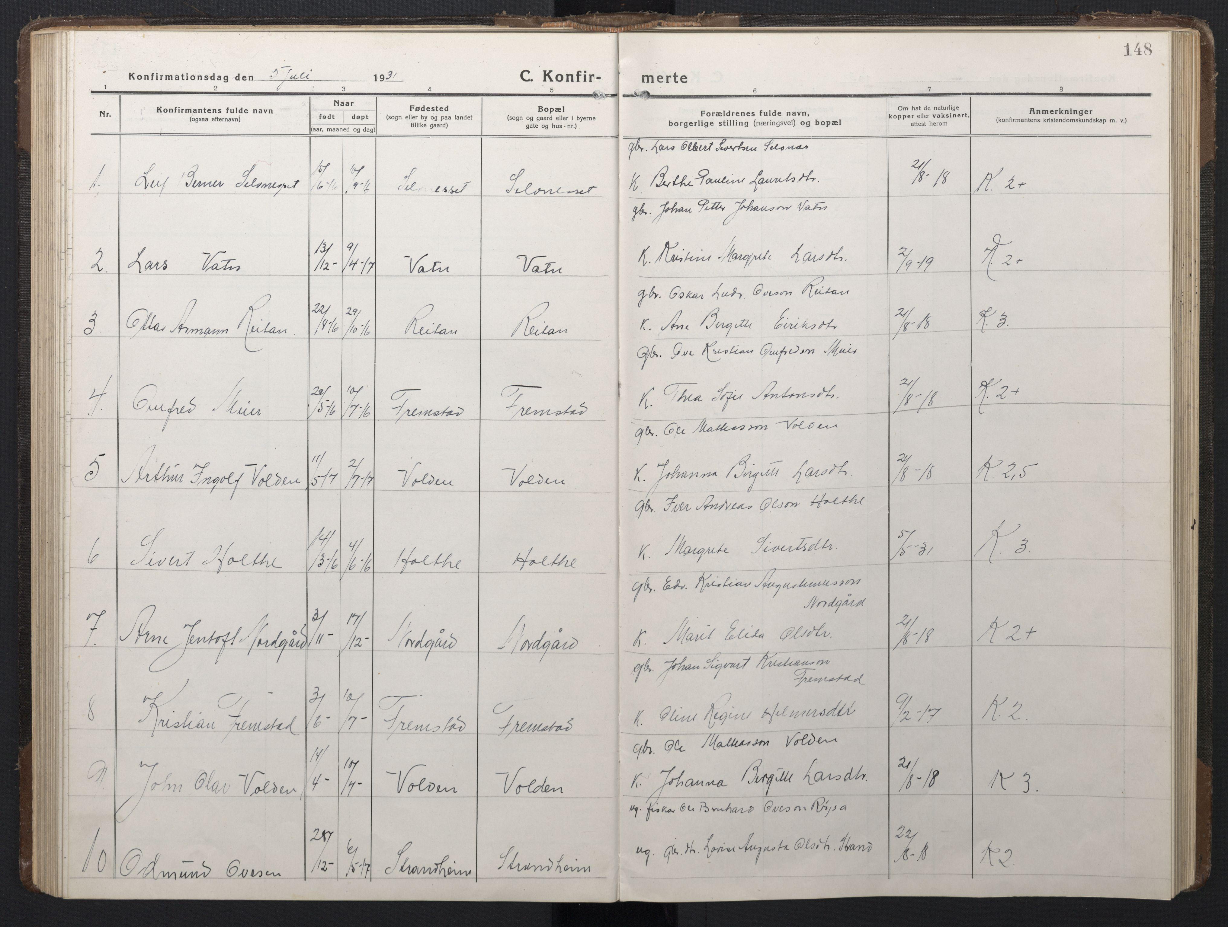 SAT, Ministerialprotokoller, klokkerbøker og fødselsregistre - Sør-Trøndelag, 662/L0758: Klokkerbok nr. 662C03, 1918-1948, s. 148